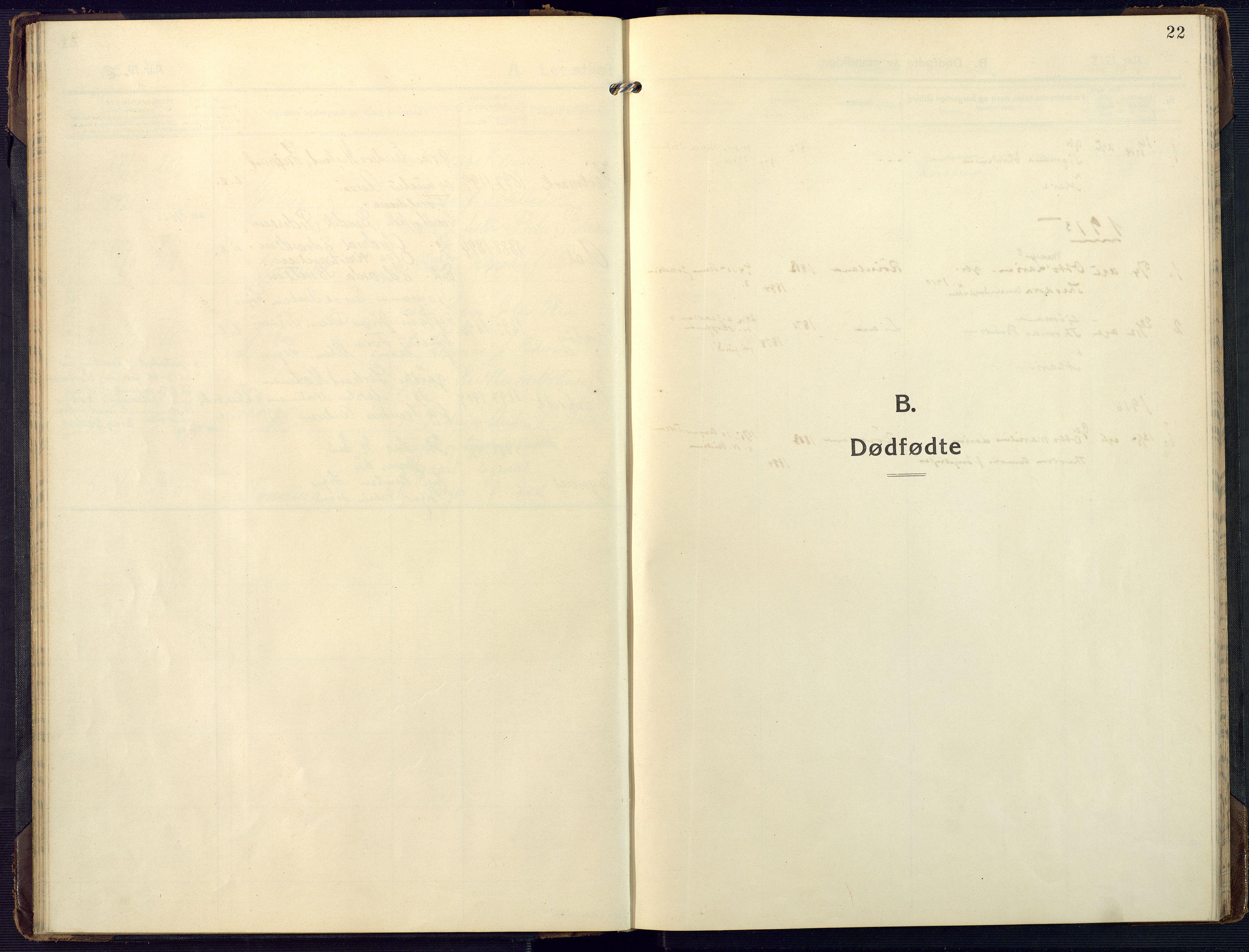 SAK, Mandal sokneprestkontor, F/Fa/Fab/L0003: Ministerialbok nr. A 3, 1913-1933, s. 22