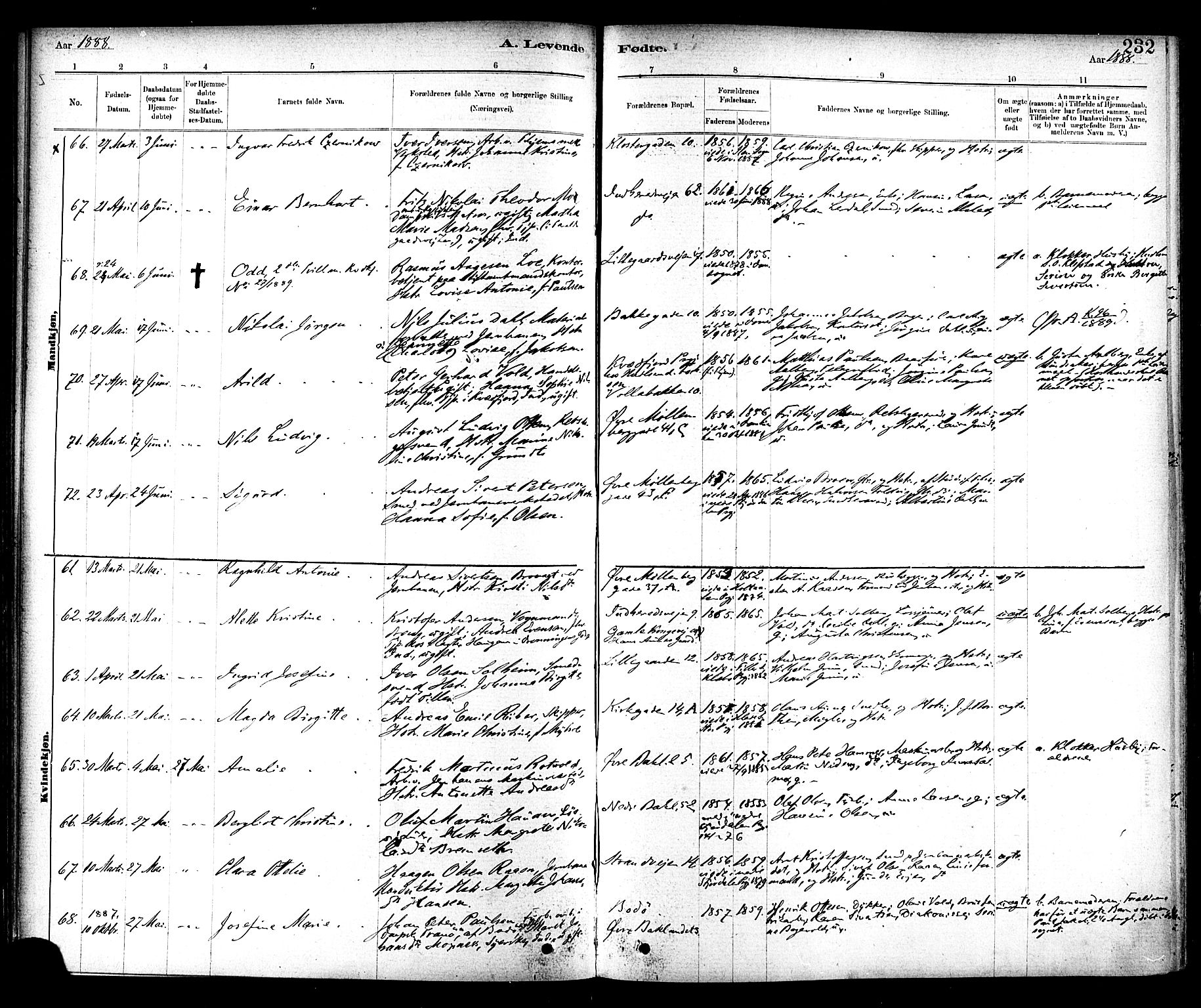 SAT, Ministerialprotokoller, klokkerbøker og fødselsregistre - Sør-Trøndelag, 604/L0188: Ministerialbok nr. 604A09, 1878-1892, s. 232