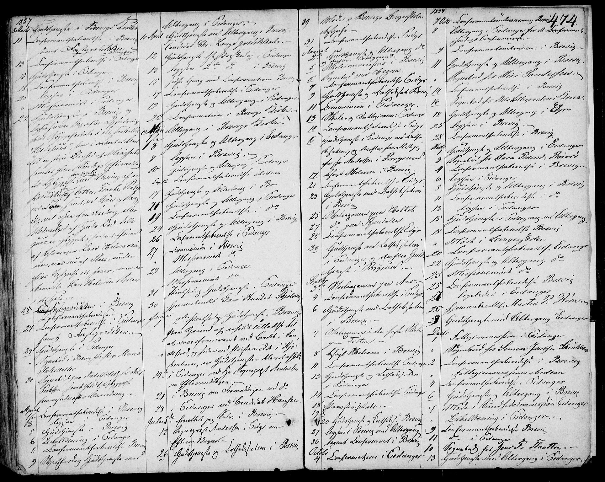 SAKO, Eidanger kirkebøker, F/Fa/L0008: Ministerialbok nr. 8, 1831-1858, s. 474
