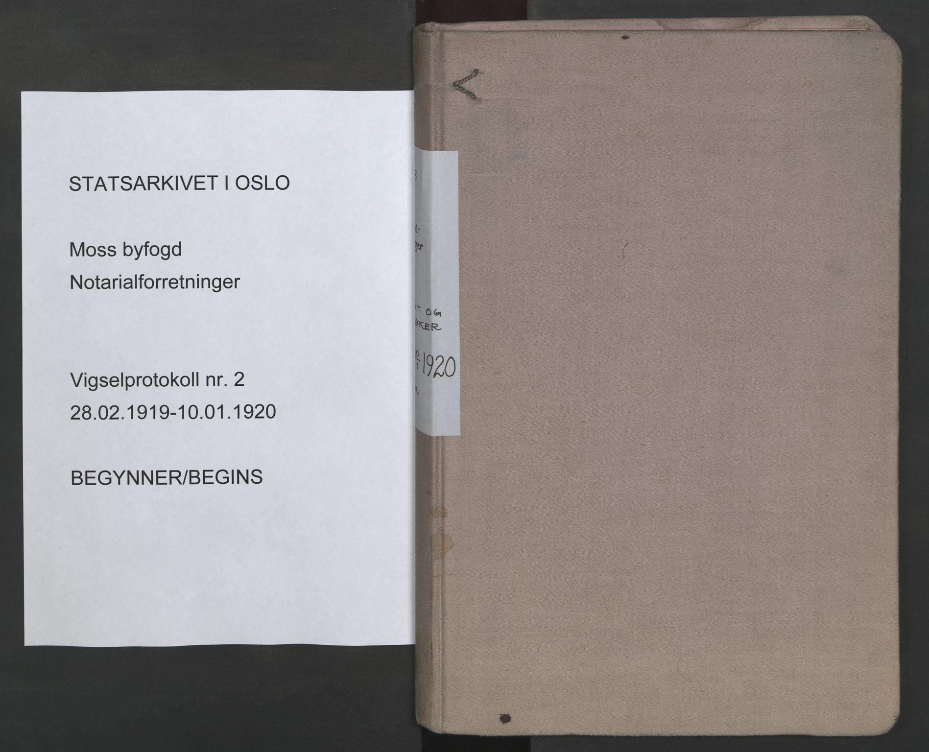 SAO, Moss byfogd, L/Lb/L0002: Vigselsbok, 1919-1920, s. upaginert