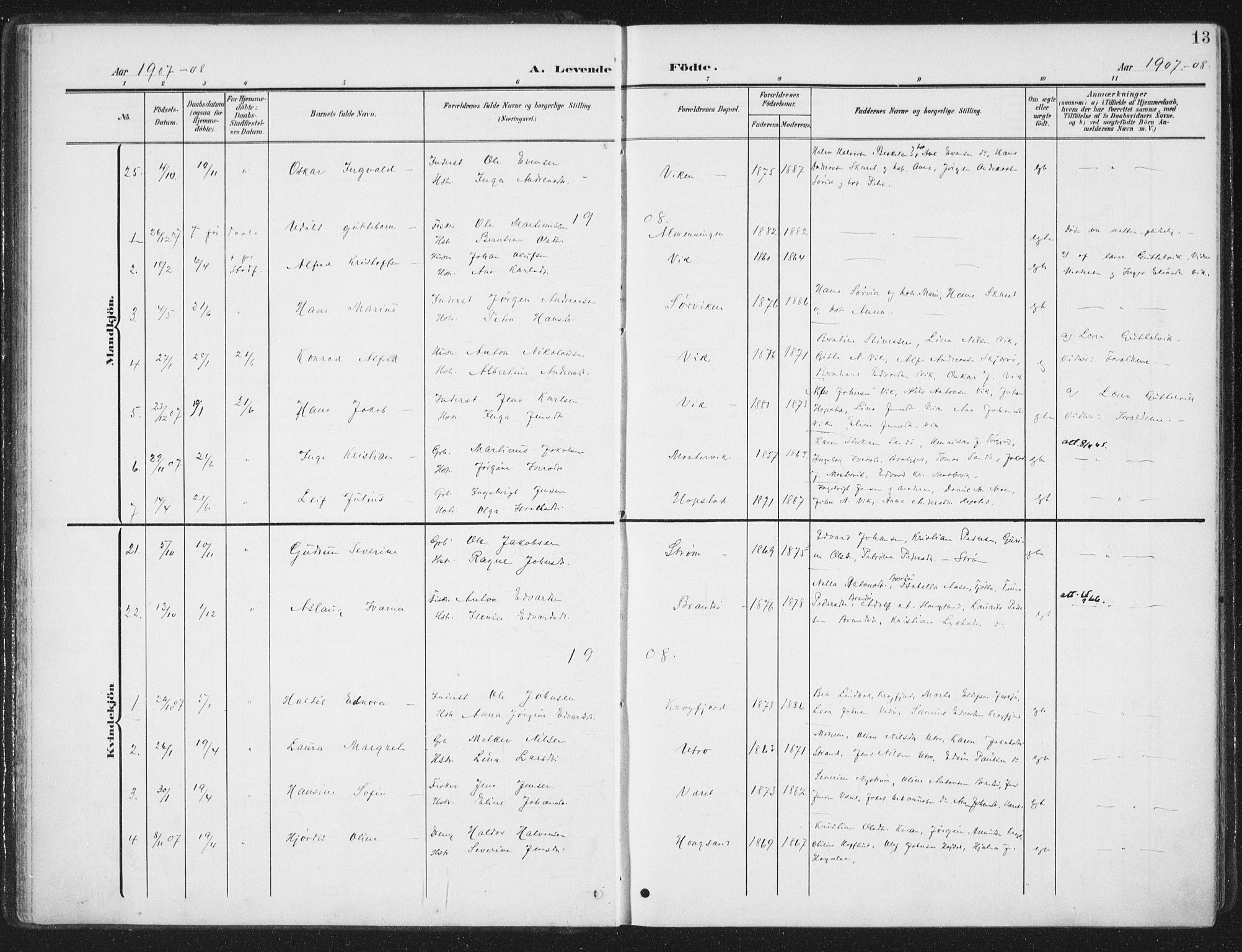 SAT, Ministerialprotokoller, klokkerbøker og fødselsregistre - Sør-Trøndelag, 657/L0709: Ministerialbok nr. 657A10, 1905-1919, s. 13