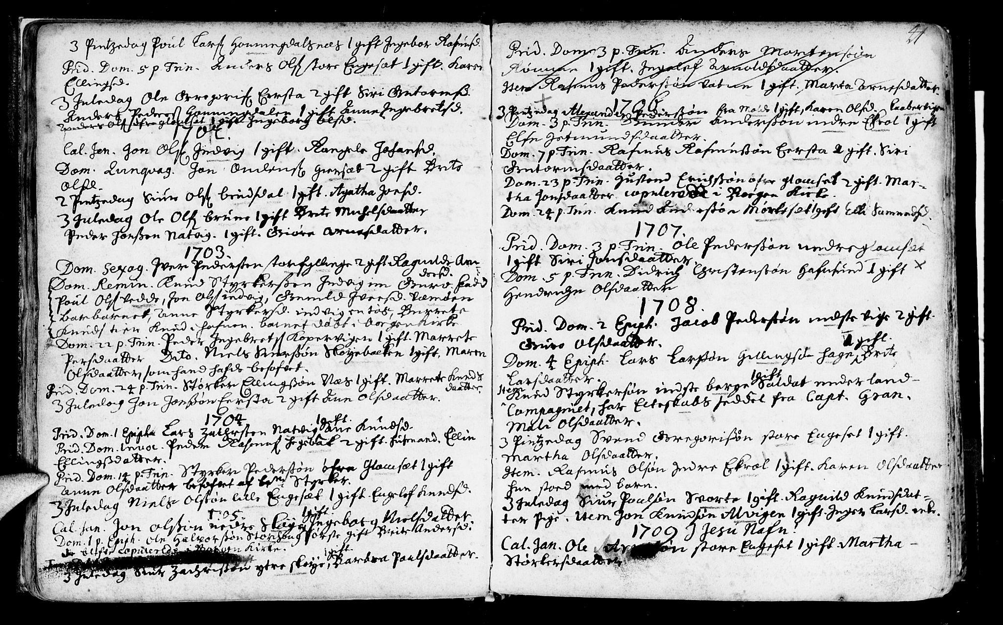 SAT, Ministerialprotokoller, klokkerbøker og fødselsregistre - Møre og Romsdal, 524/L0349: Ministerialbok nr. 524A01, 1698-1779, s. 41