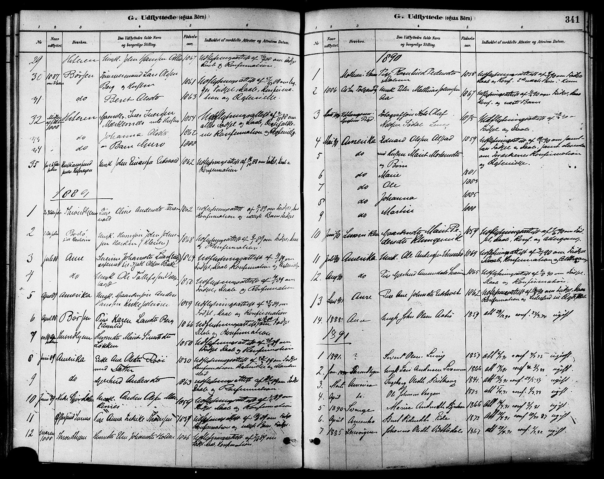 SAT, Ministerialprotokoller, klokkerbøker og fødselsregistre - Sør-Trøndelag, 630/L0496: Ministerialbok nr. 630A09, 1879-1895, s. 341