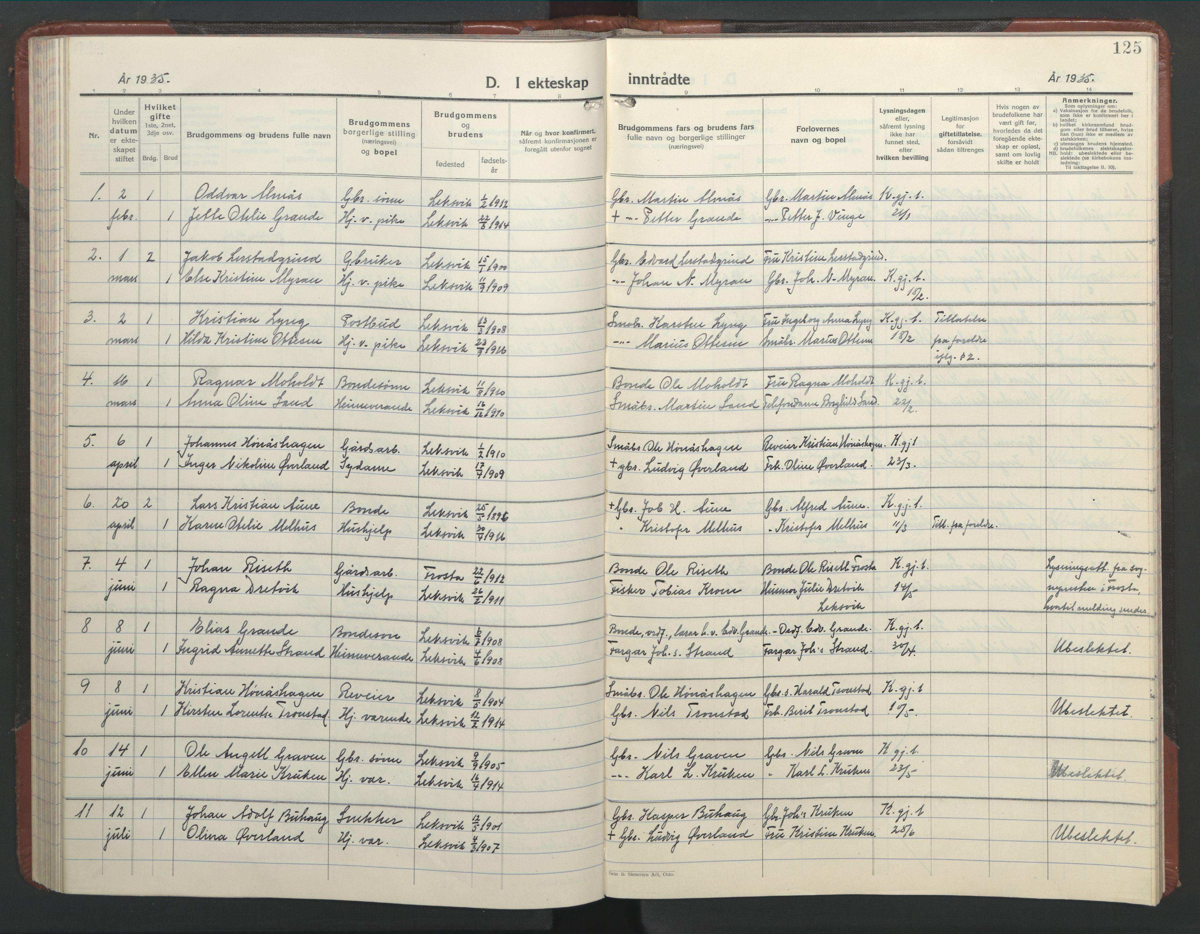 SAT, Ministerialprotokoller, klokkerbøker og fødselsregistre - Nord-Trøndelag, 701/L0019: Klokkerbok nr. 701C03, 1930-1953, s. 125