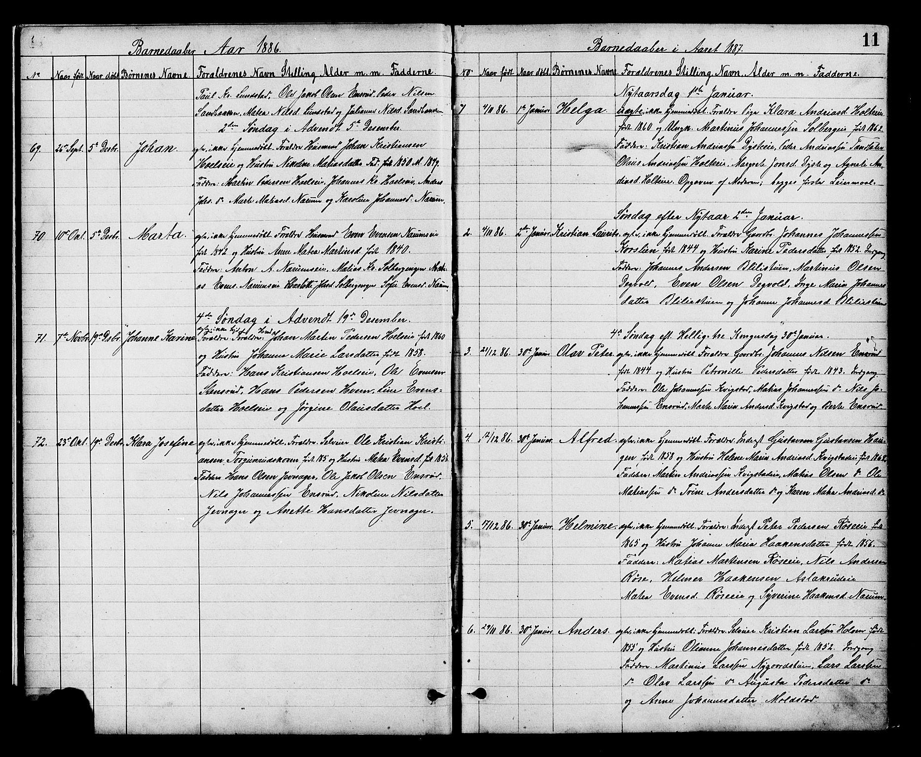 SAH, Vestre Toten prestekontor, H/Ha/Hab/L0008: Klokkerbok nr. 8, 1885-1900, s. 11