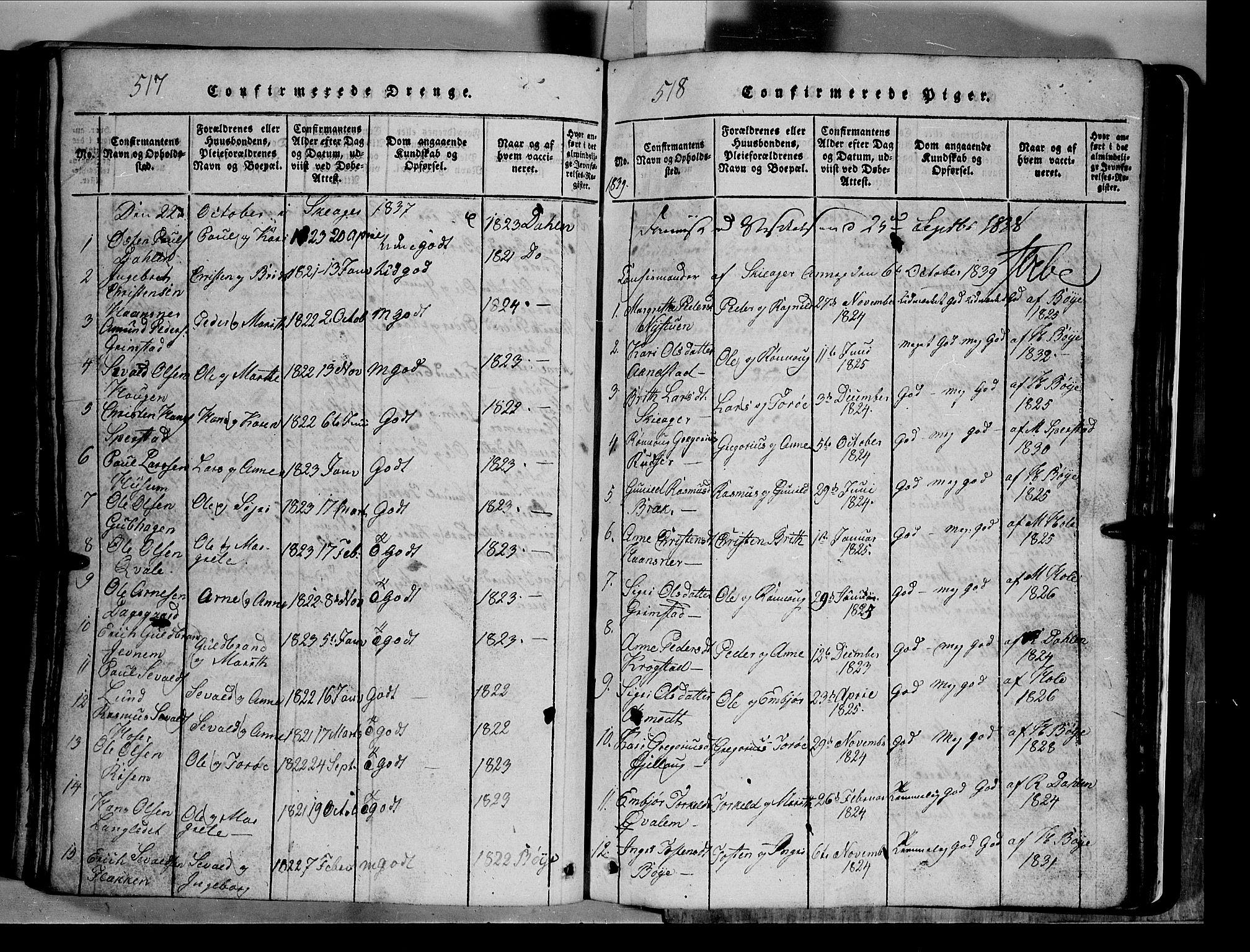 SAH, Lom prestekontor, L/L0003: Klokkerbok nr. 3, 1815-1844, s. 517-518