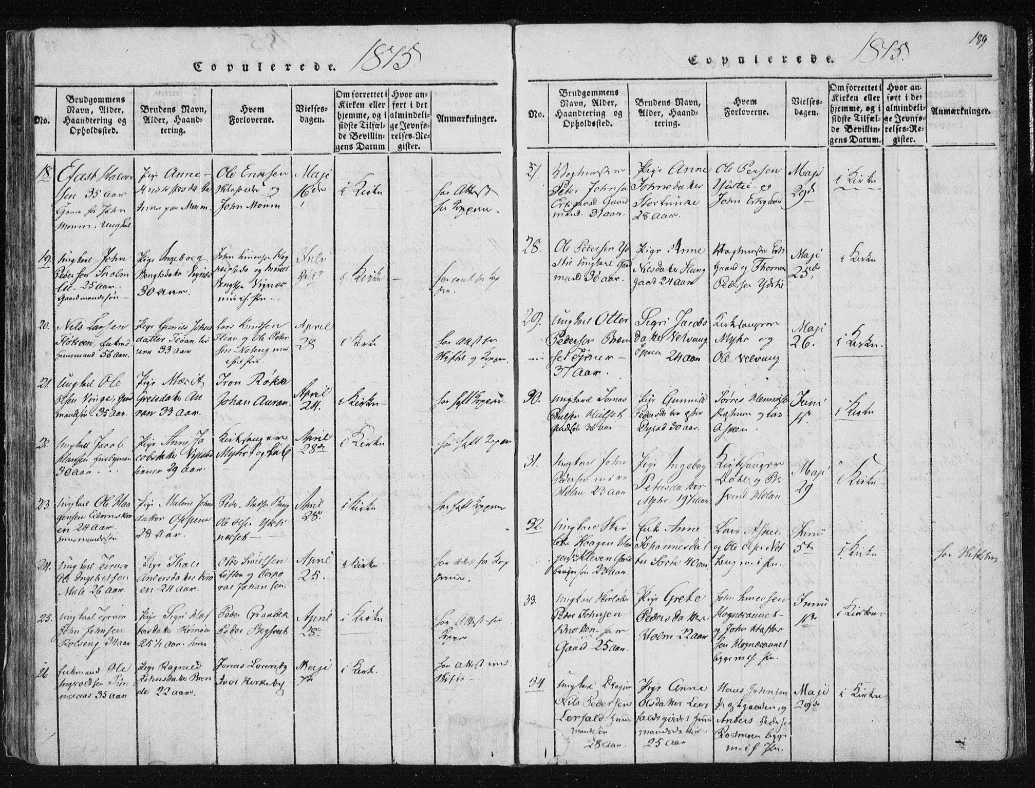 SAT, Ministerialprotokoller, klokkerbøker og fødselsregistre - Nord-Trøndelag, 709/L0061: Ministerialbok nr. 709A08 /1, 1815-1819, s. 189