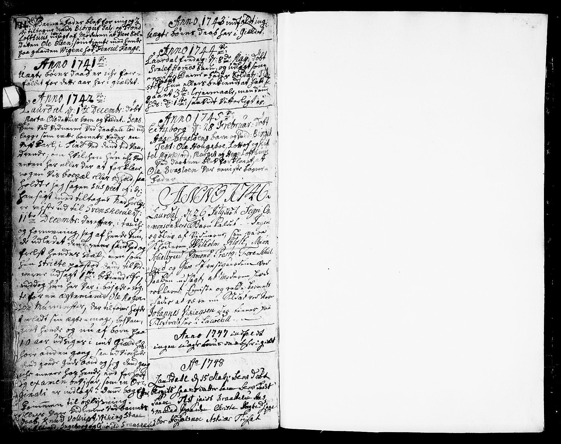 SAKO, Lårdal kirkebøker, F/Fa/L0002: Ministerialbok nr. I 2, 1734-1754, s. 194-195