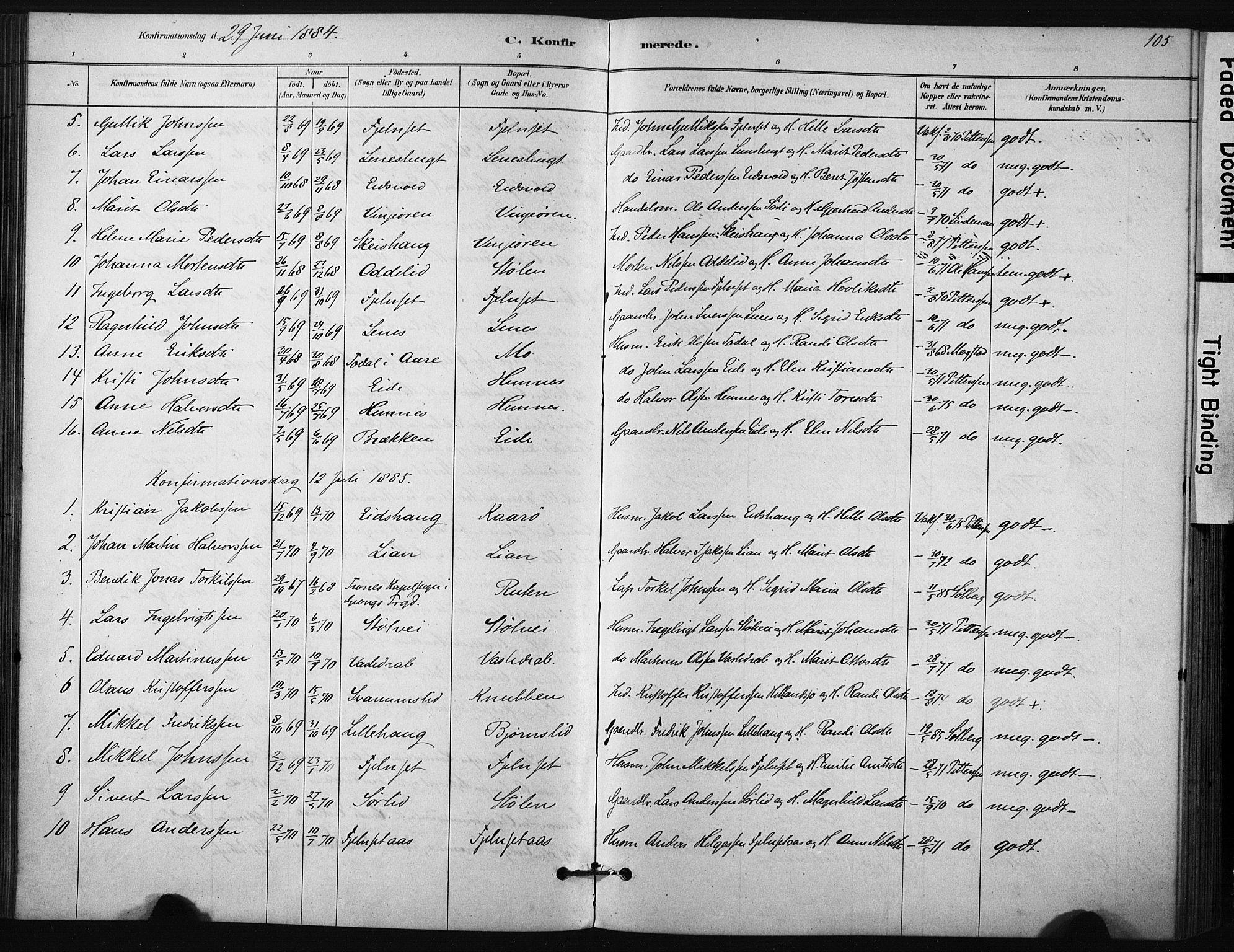 SAT, Ministerialprotokoller, klokkerbøker og fødselsregistre - Sør-Trøndelag, 631/L0512: Ministerialbok nr. 631A01, 1879-1912, s. 105