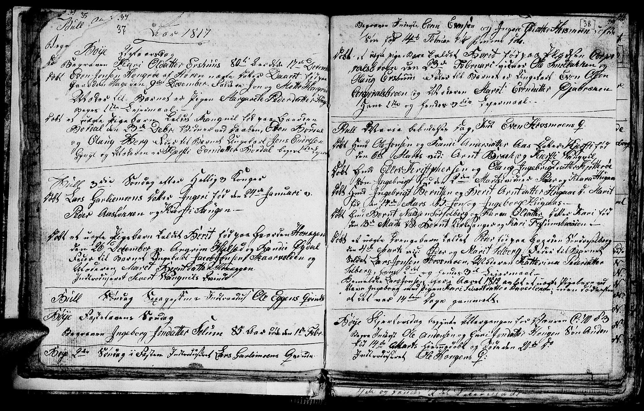 SAT, Ministerialprotokoller, klokkerbøker og fødselsregistre - Sør-Trøndelag, 689/L1042: Klokkerbok nr. 689C01, 1812-1841, s. 37-38