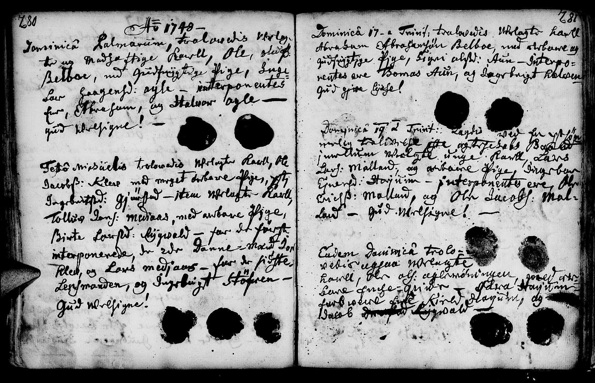 SAT, Ministerialprotokoller, klokkerbøker og fødselsregistre - Nord-Trøndelag, 749/L0467: Ministerialbok nr. 749A01, 1733-1787, s. 280-281