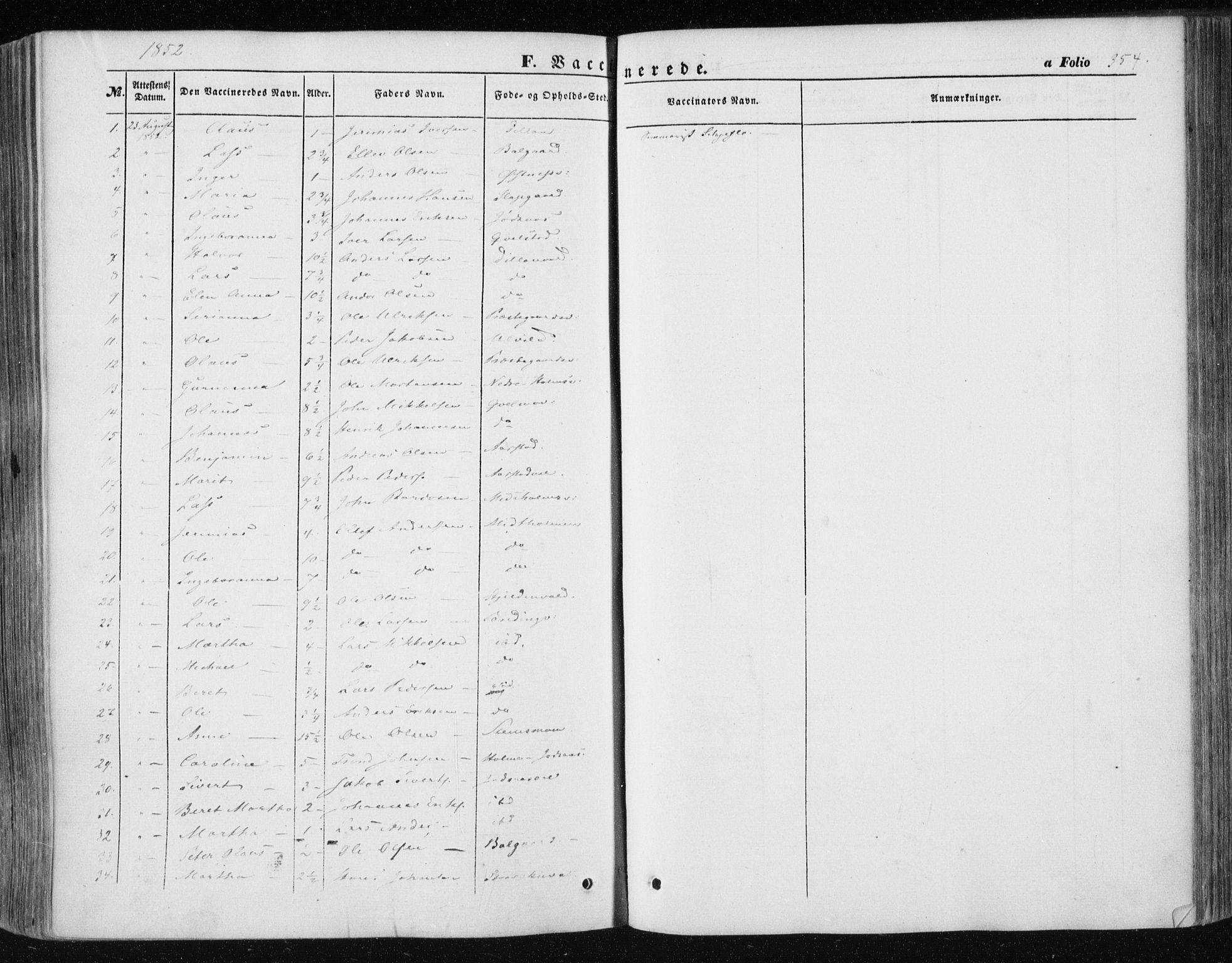 SAT, Ministerialprotokoller, klokkerbøker og fødselsregistre - Nord-Trøndelag, 723/L0240: Ministerialbok nr. 723A09, 1852-1860, s. 354