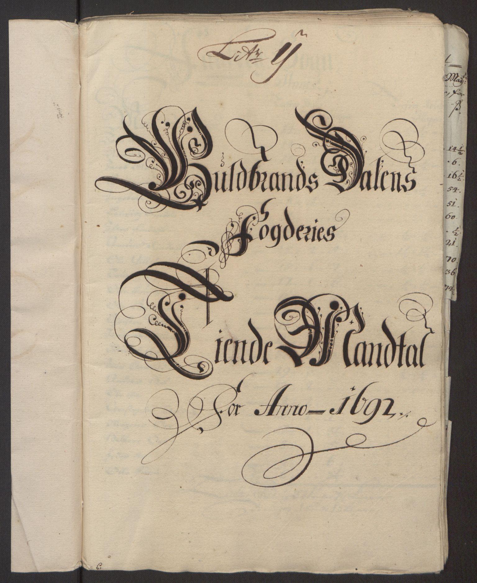 RA, Rentekammeret inntil 1814, Reviderte regnskaper, Fogderegnskap, R17/L1166: Fogderegnskap Gudbrandsdal, 1690-1692, s. 11