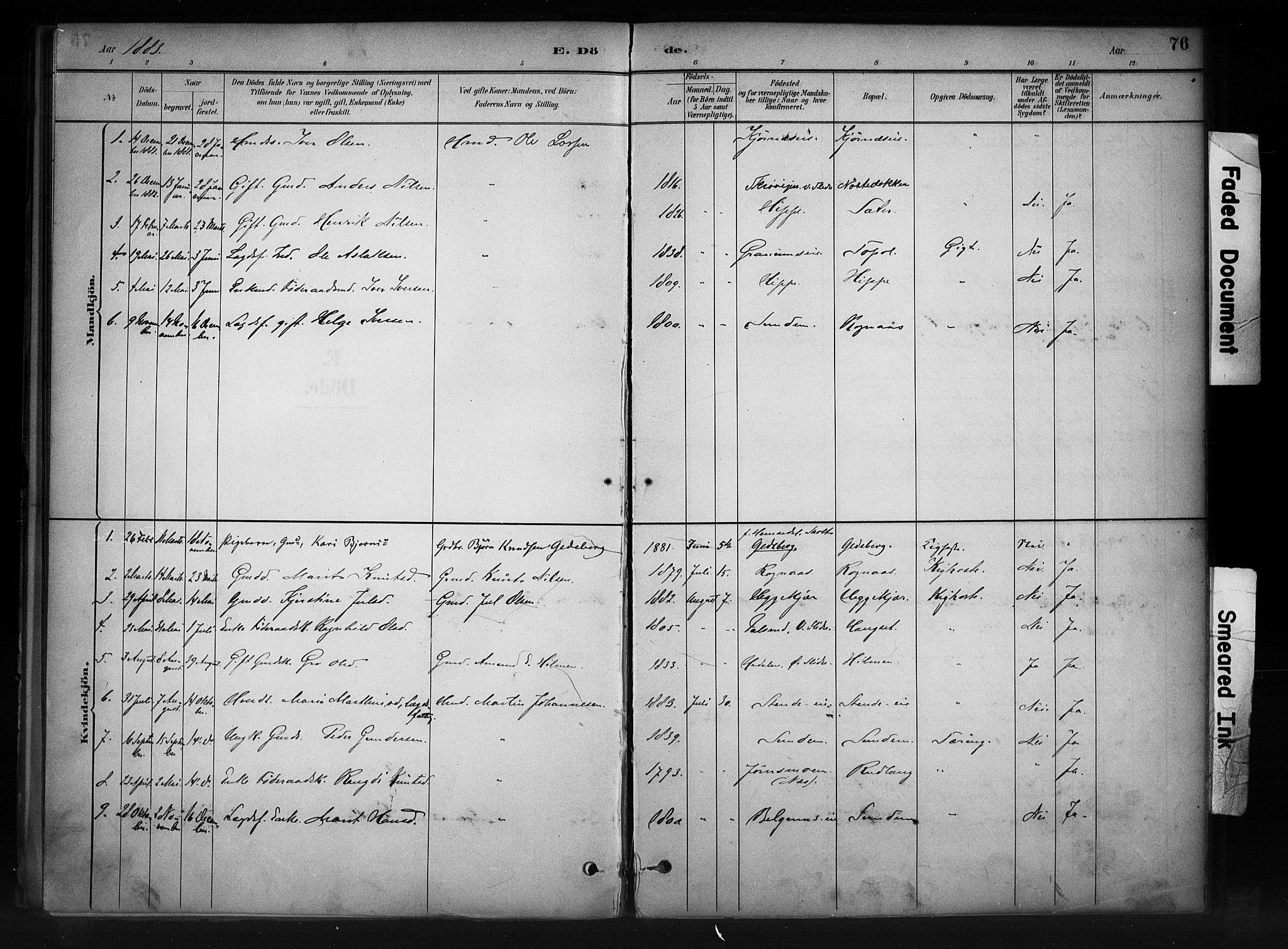 SAH, Nord-Aurdal prestekontor, Ministerialbok nr. 11, 1883-1896, s. 76