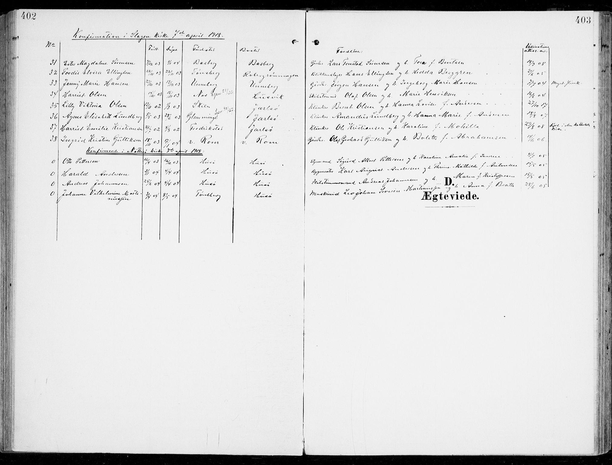 SAKO, Sem kirkebøker, F/Fb/L0006: Ministerialbok nr. II 6, 1905-1918, s. 402-403