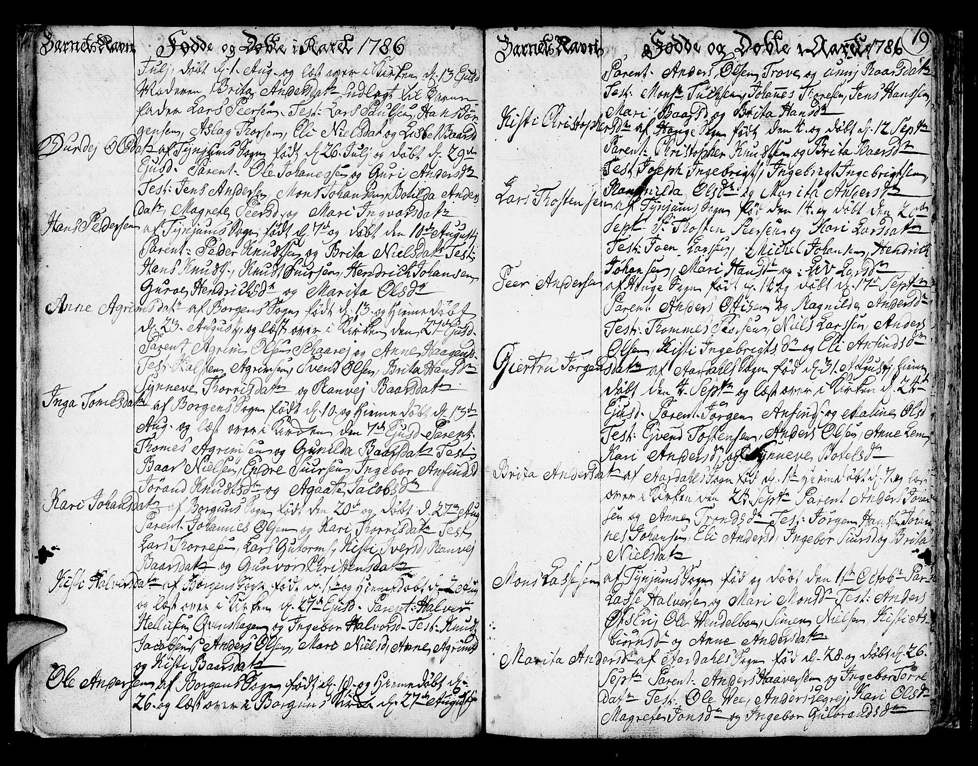 SAB, Lærdal sokneprestembete, Ministerialbok nr. A 3, 1783-1804, s. 19