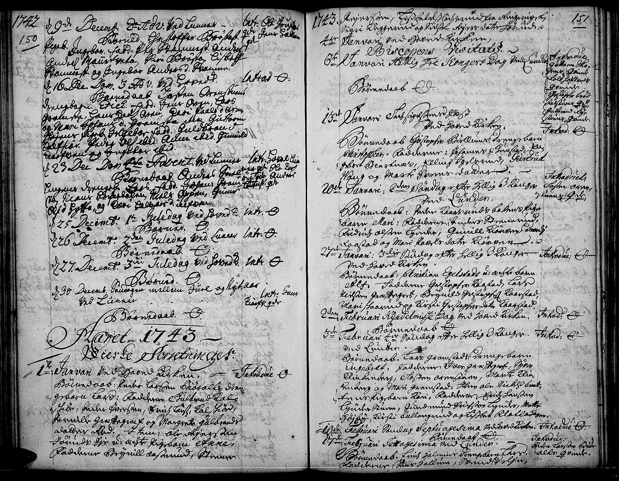 SAH, Jevnaker prestekontor, Ministerialbok nr. 2, 1725-1751, s. 150-151