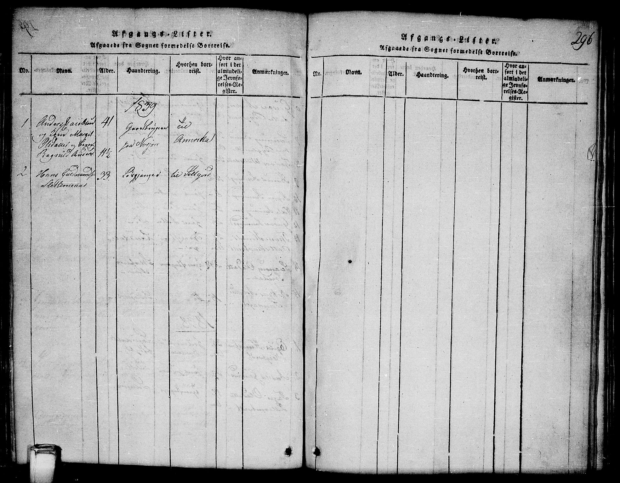SAKO, Kviteseid kirkebøker, G/Gb/L0001: Klokkerbok nr. II 1, 1815-1842, s. 296