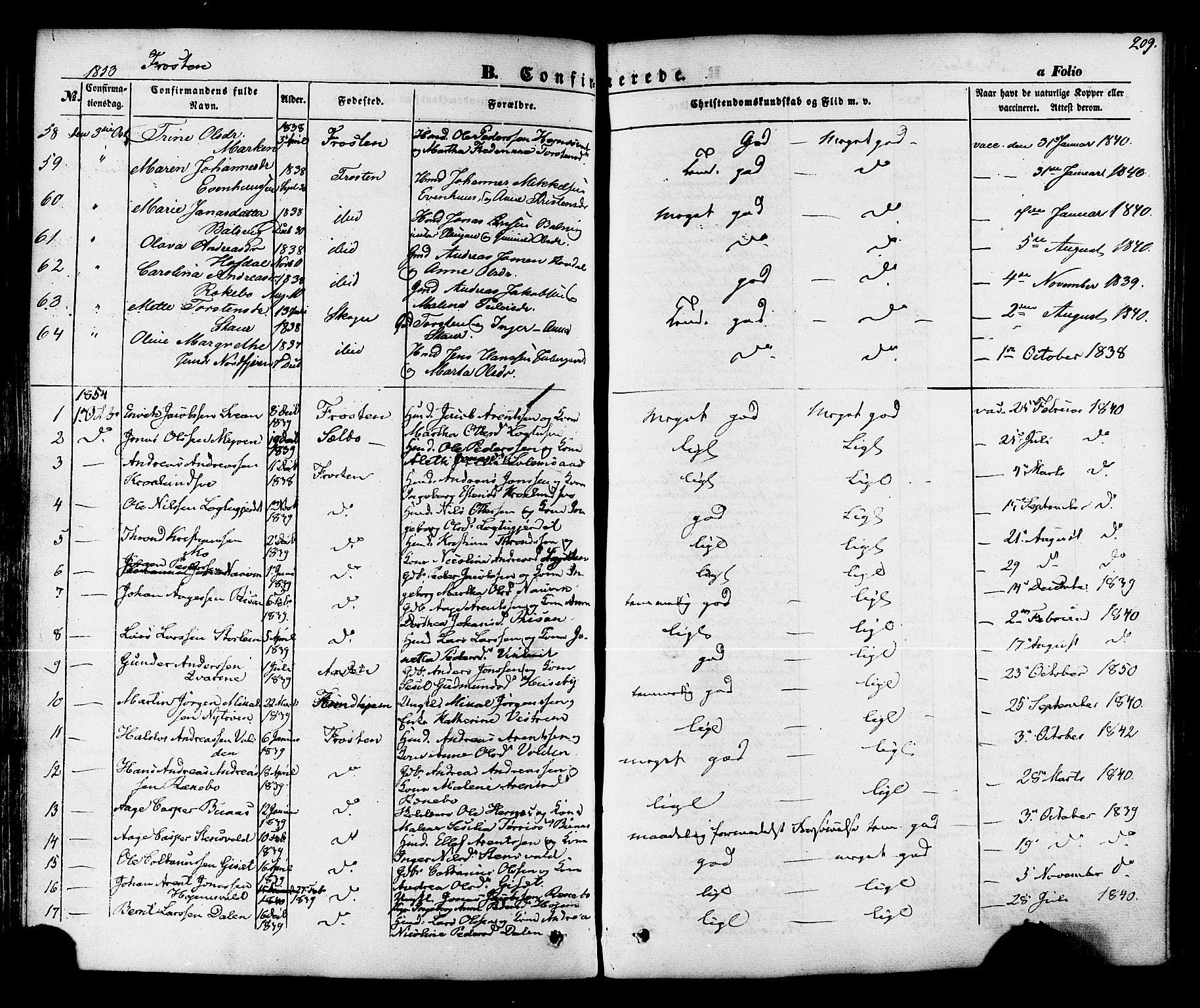 SAT, Ministerialprotokoller, klokkerbøker og fødselsregistre - Nord-Trøndelag, 713/L0116: Ministerialbok nr. 713A07 /1, 1850-1877, s. 209