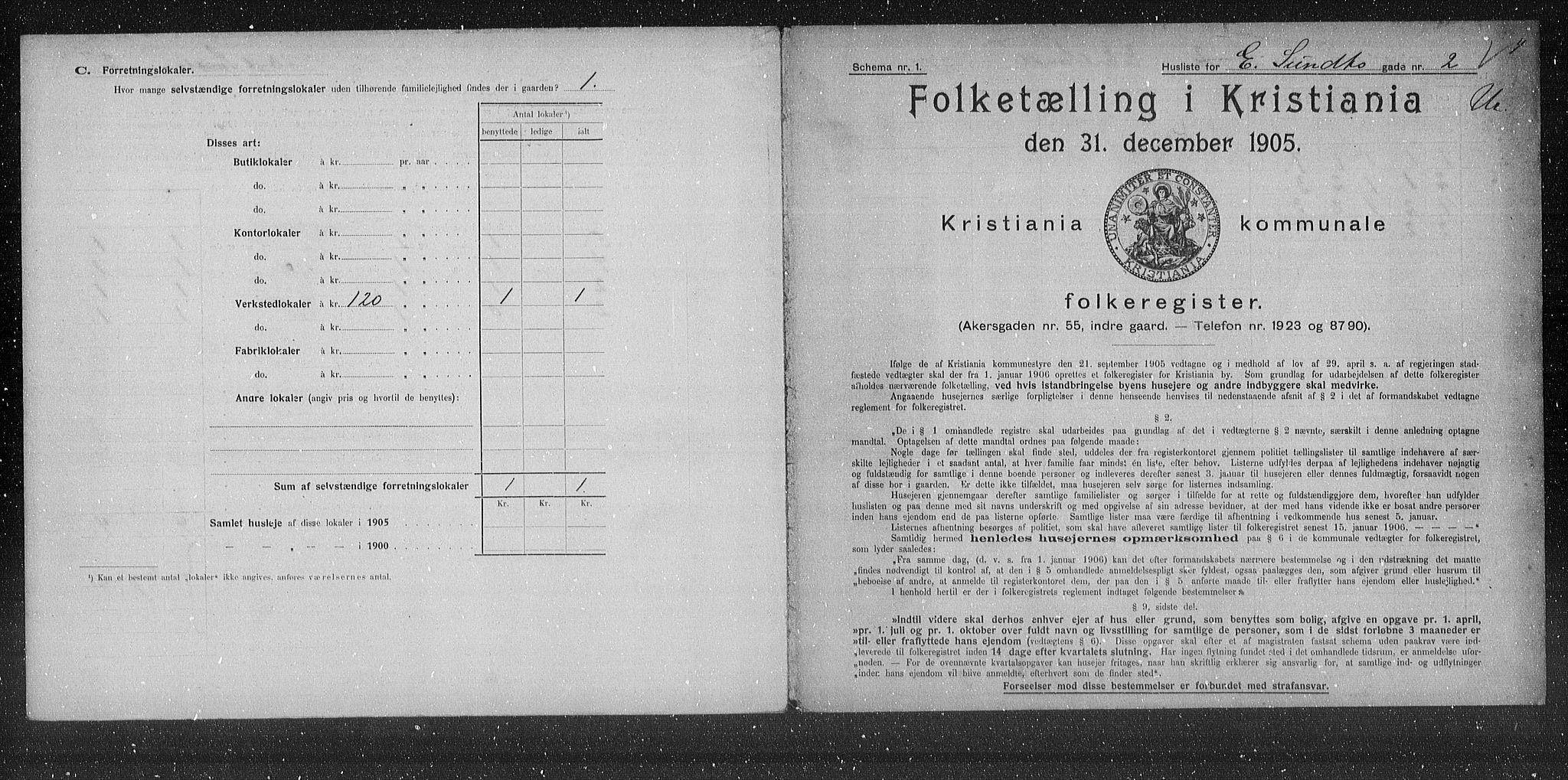 OBA, Kommunal folketelling 1905 for Kristiania kjøpstad, 1905, s. 9797