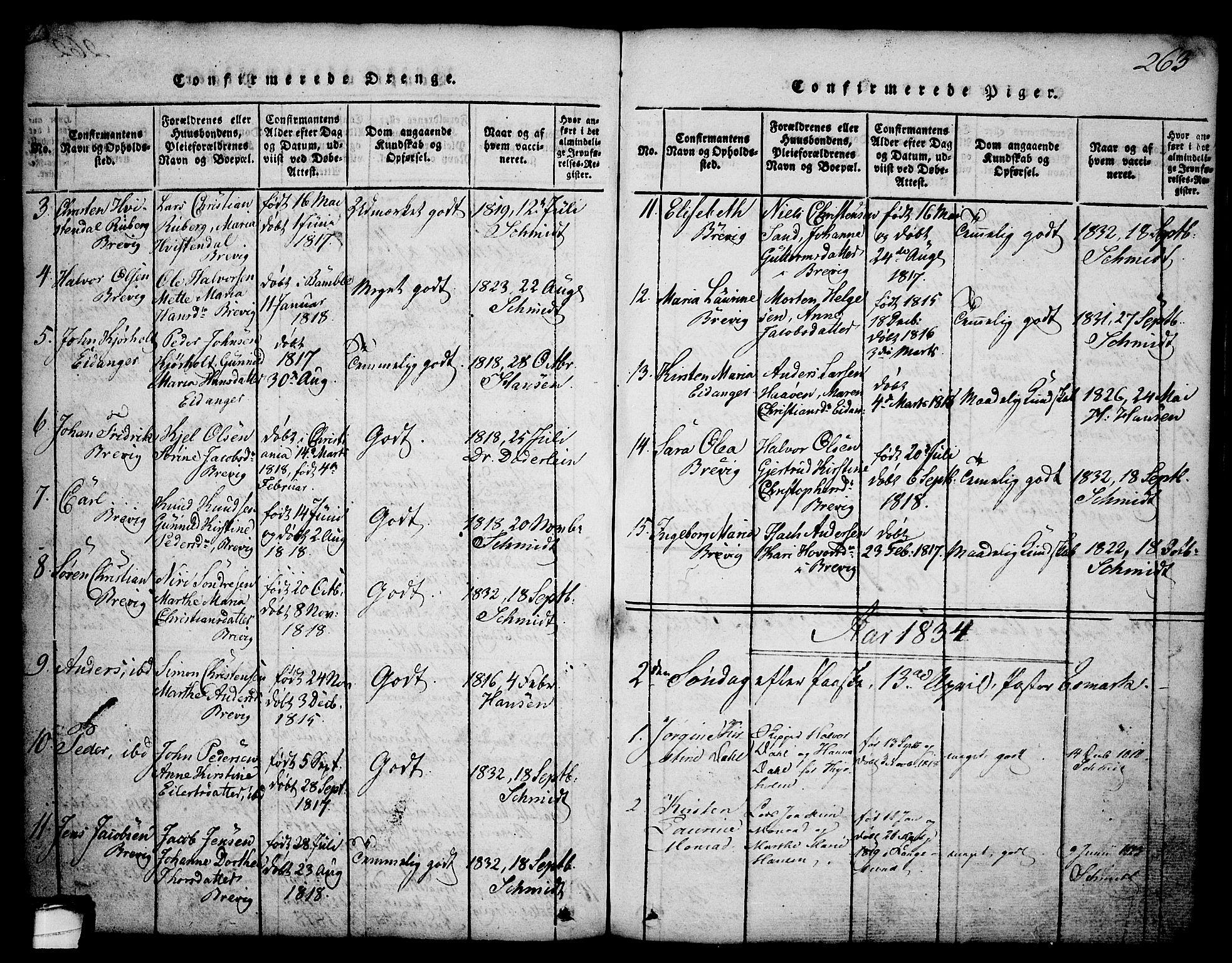 SAKO, Brevik kirkebøker, G/Ga/L0001: Klokkerbok nr. 1, 1814-1845, s. 263