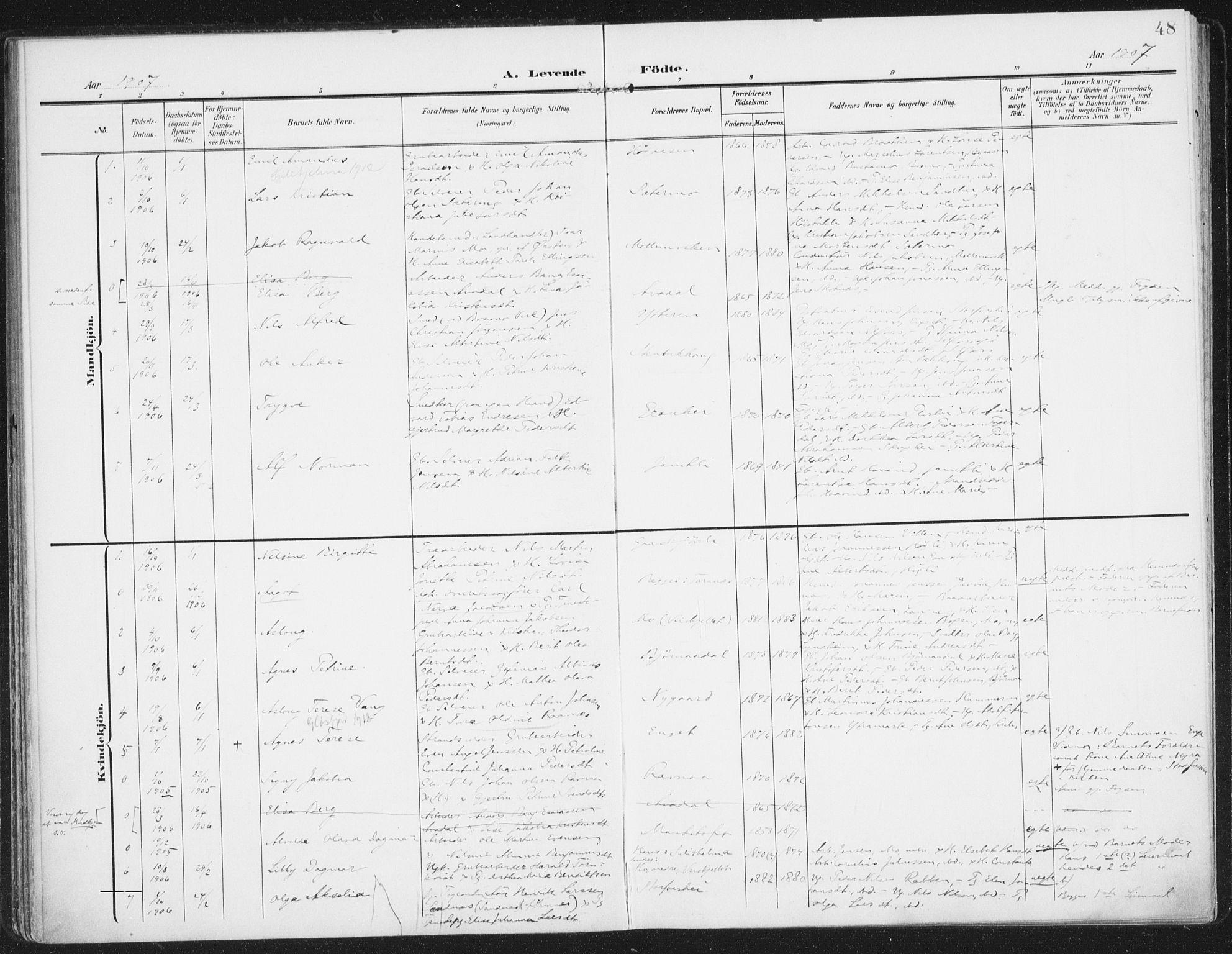 SAT, Ministerialprotokoller, klokkerbøker og fødselsregistre - Nordland, 827/L0402: Ministerialbok nr. 827A14, 1903-1912, s. 48