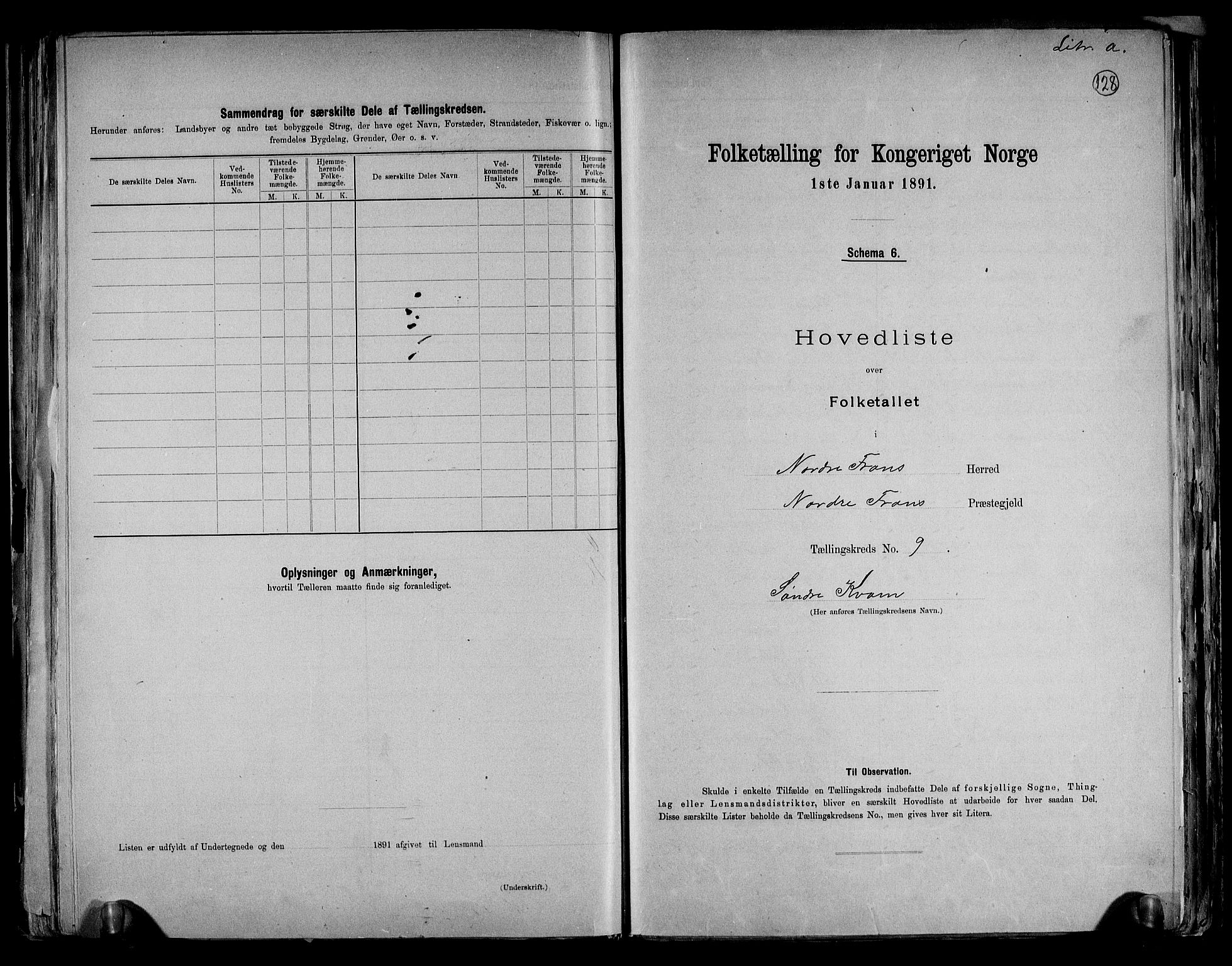 RA, Folketelling 1891 for 0518 Nord-Fron herred, 1891, s. 23