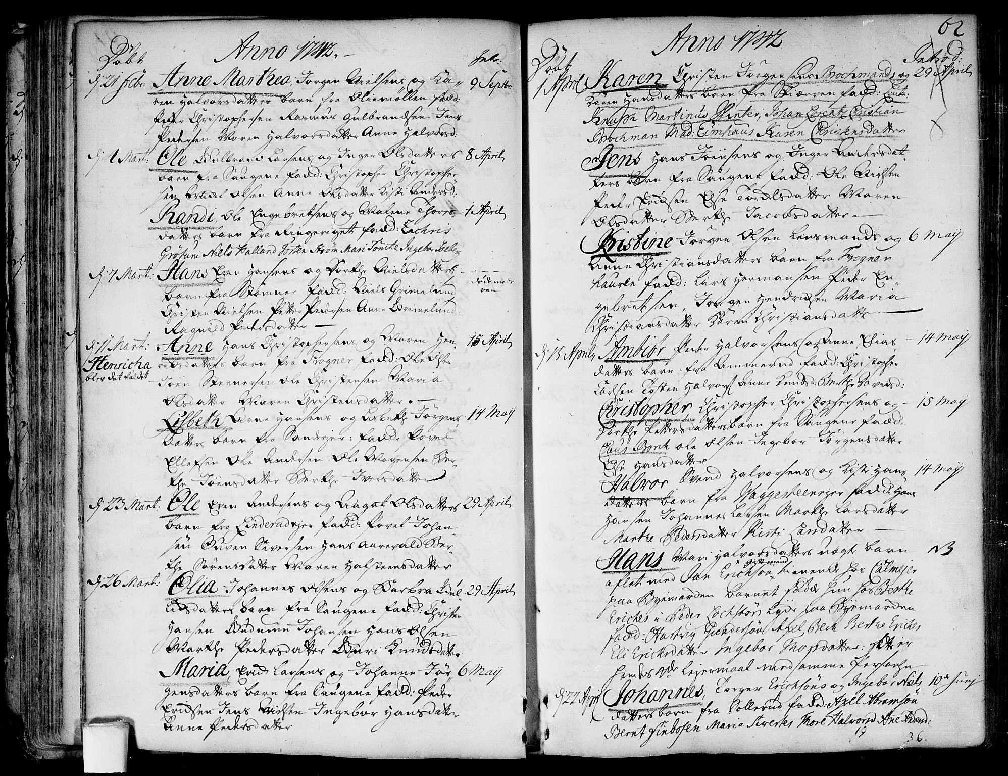 SAO, Aker prestekontor kirkebøker, F/L0007: Ministerialbok nr. 7, 1734-1748, s. 62