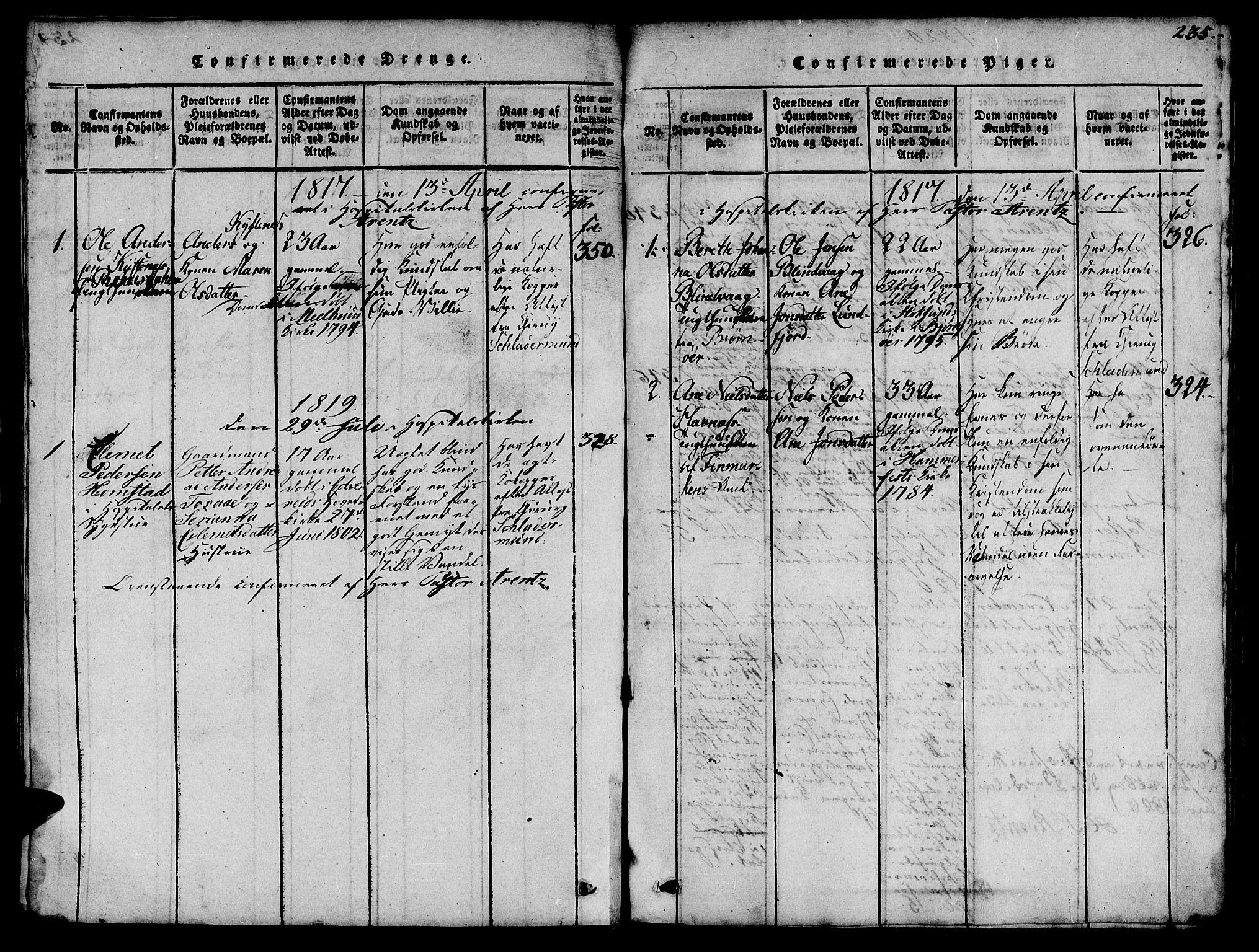 SAT, Ministerialprotokoller, klokkerbøker og fødselsregistre - Sør-Trøndelag, 623/L0478: Klokkerbok nr. 623C01, 1815-1873, s. 235