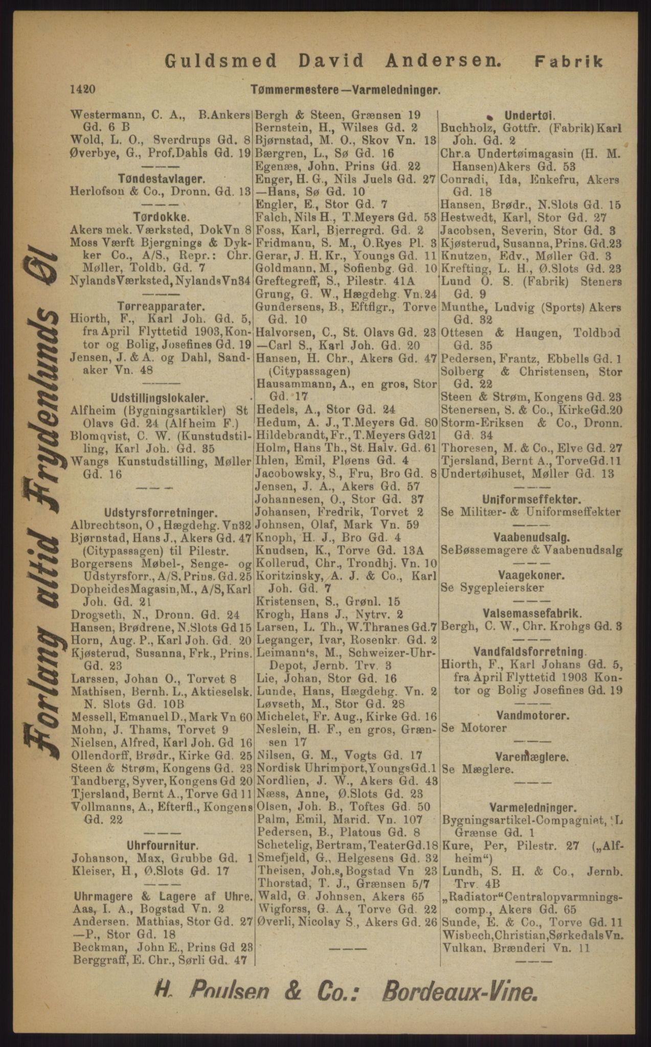 RA, Kristiania adressebok (publikasjon)*, 1903, s. 1420