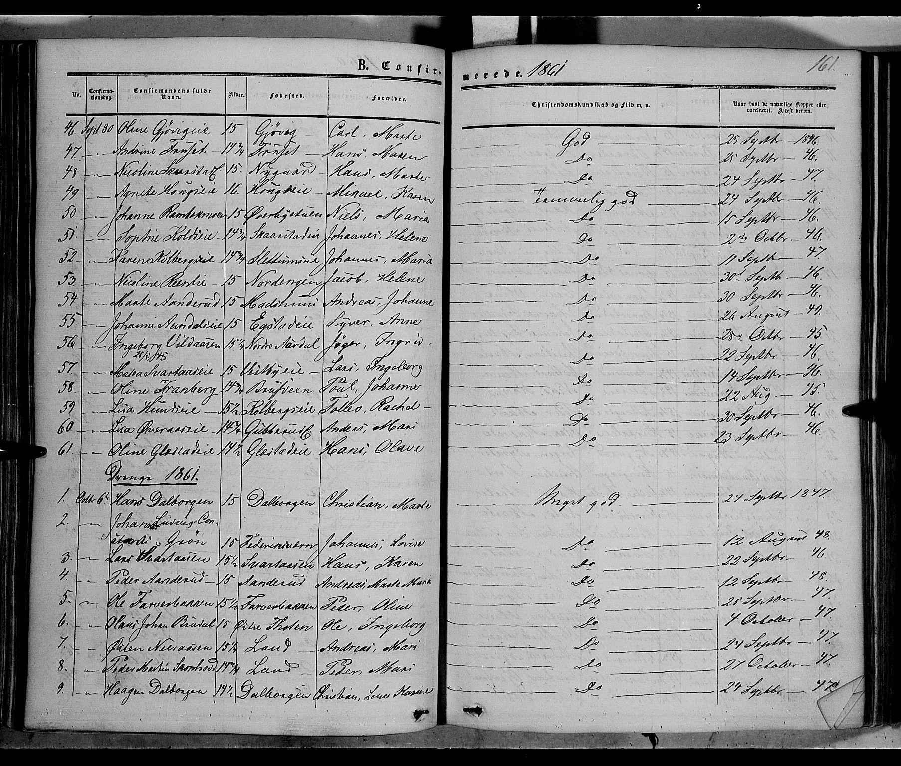 SAH, Vardal prestekontor, H/Ha/Haa/L0006: Ministerialbok nr. 6, 1854-1866, s. 161