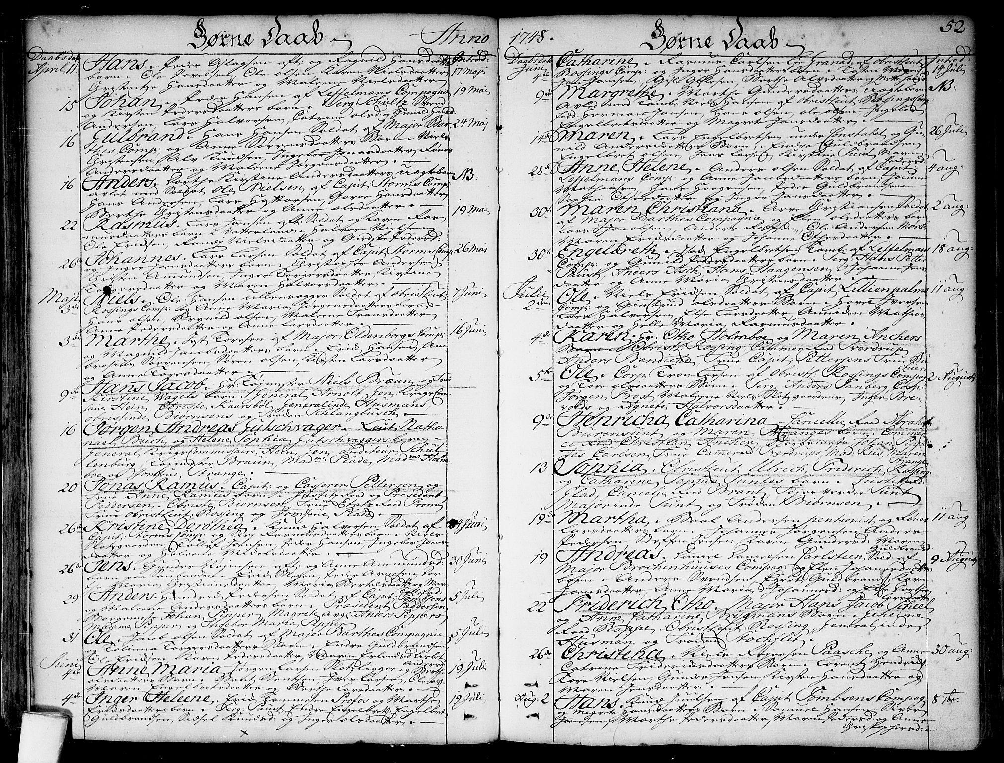 SAO, Garnisonsmenigheten Kirkebøker, F/Fa/L0001: Ministerialbok nr. 1, 1734-1756, s. 52