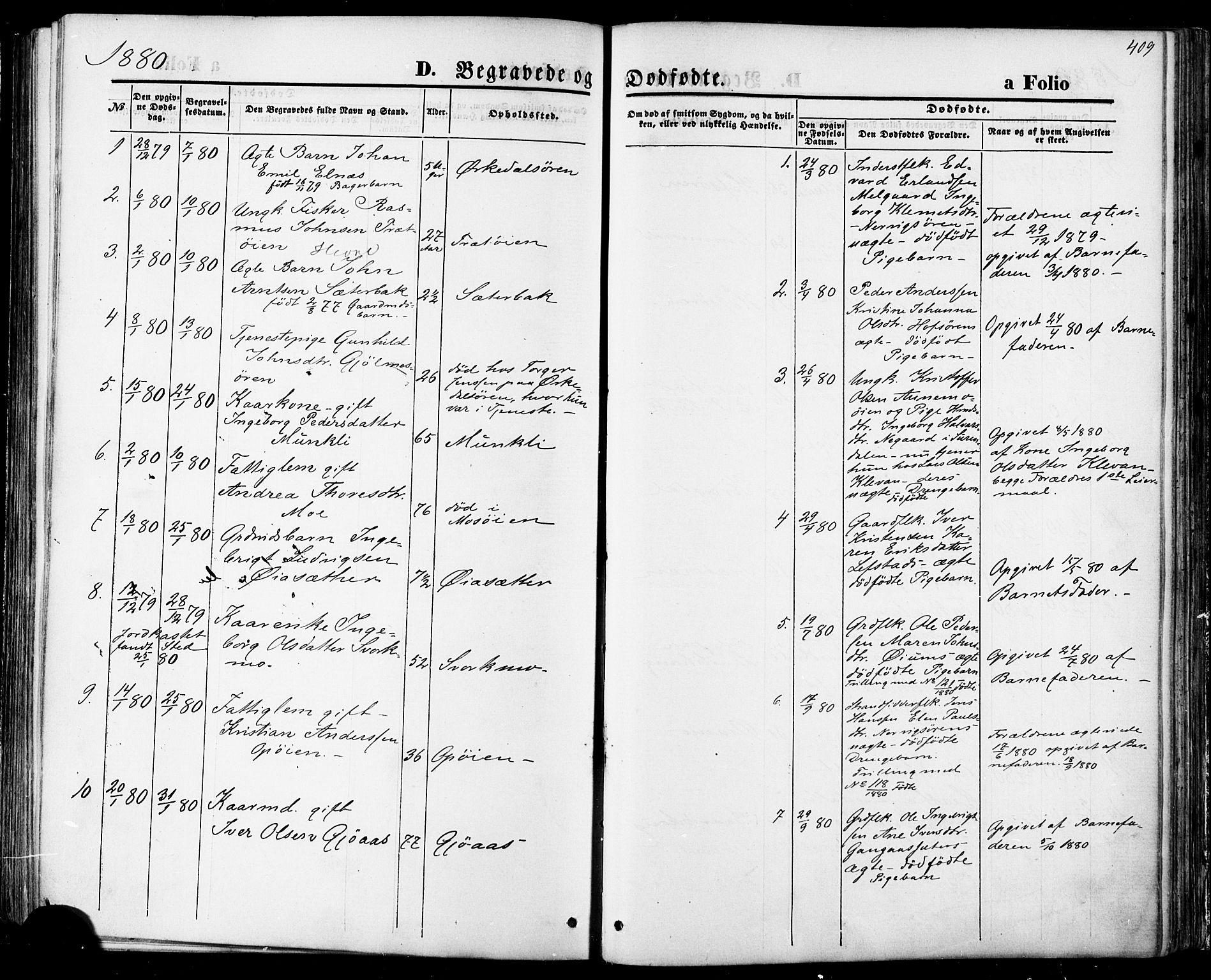 SAT, Ministerialprotokoller, klokkerbøker og fødselsregistre - Sør-Trøndelag, 668/L0807: Ministerialbok nr. 668A07, 1870-1880, s. 409