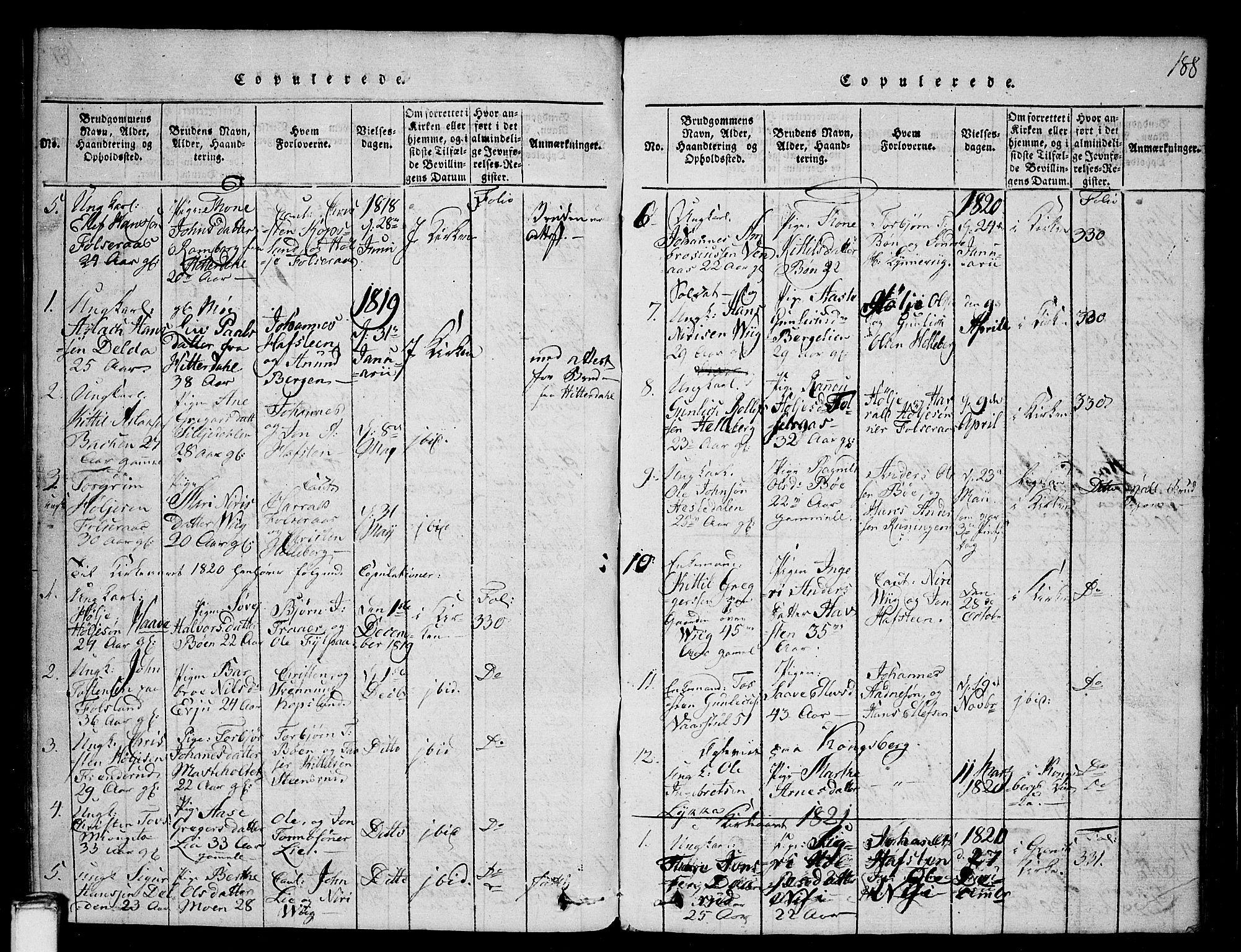 SAKO, Gransherad kirkebøker, G/Ga/L0001: Klokkerbok nr. I 1, 1815-1842, s. 188