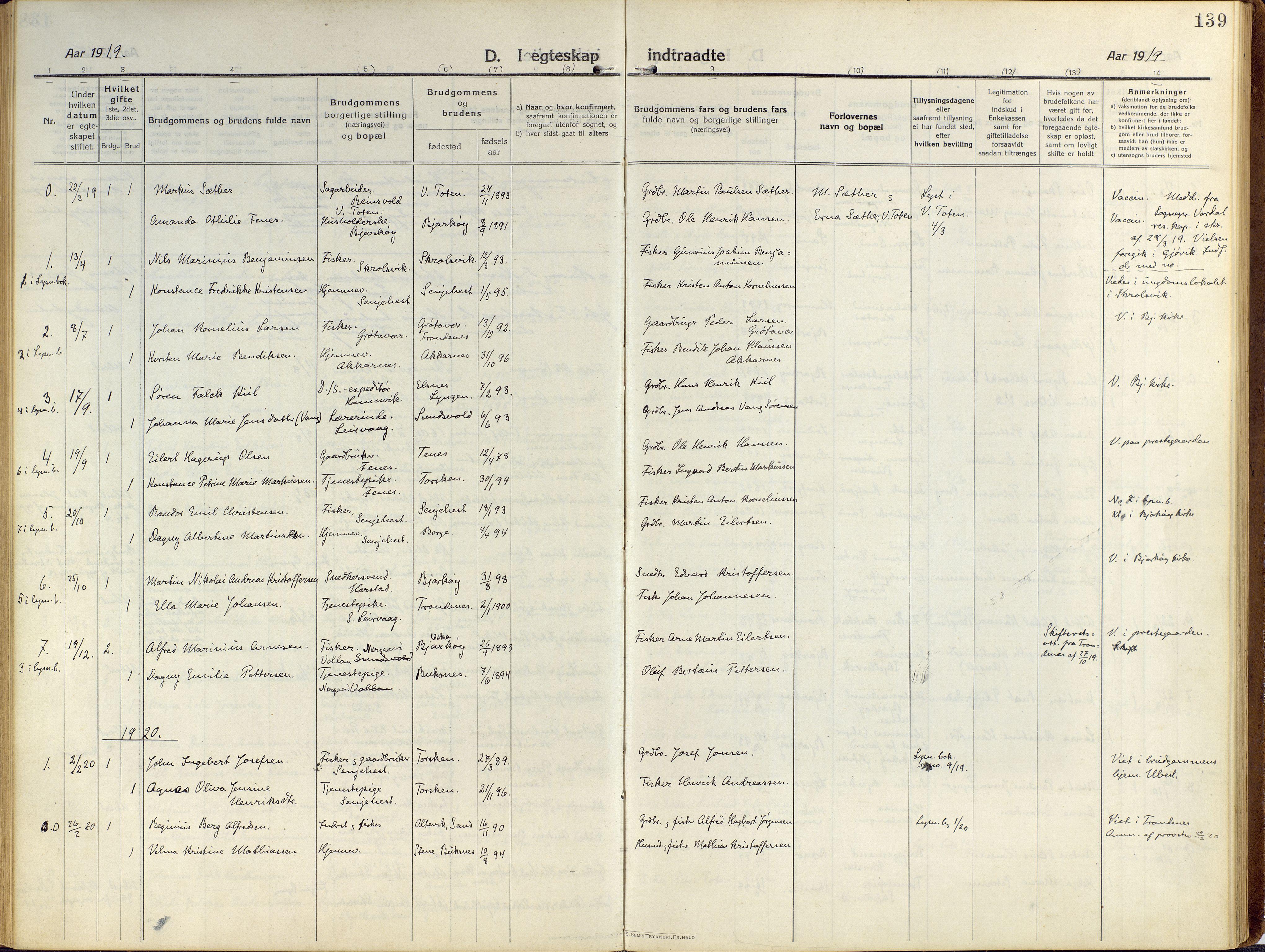 SATØ, Sand/Bjarkøy sokneprestkontor, I/Ia/Iaa/L0006kirke: Ministerialbok nr. 6, 1915-1929, s. 139