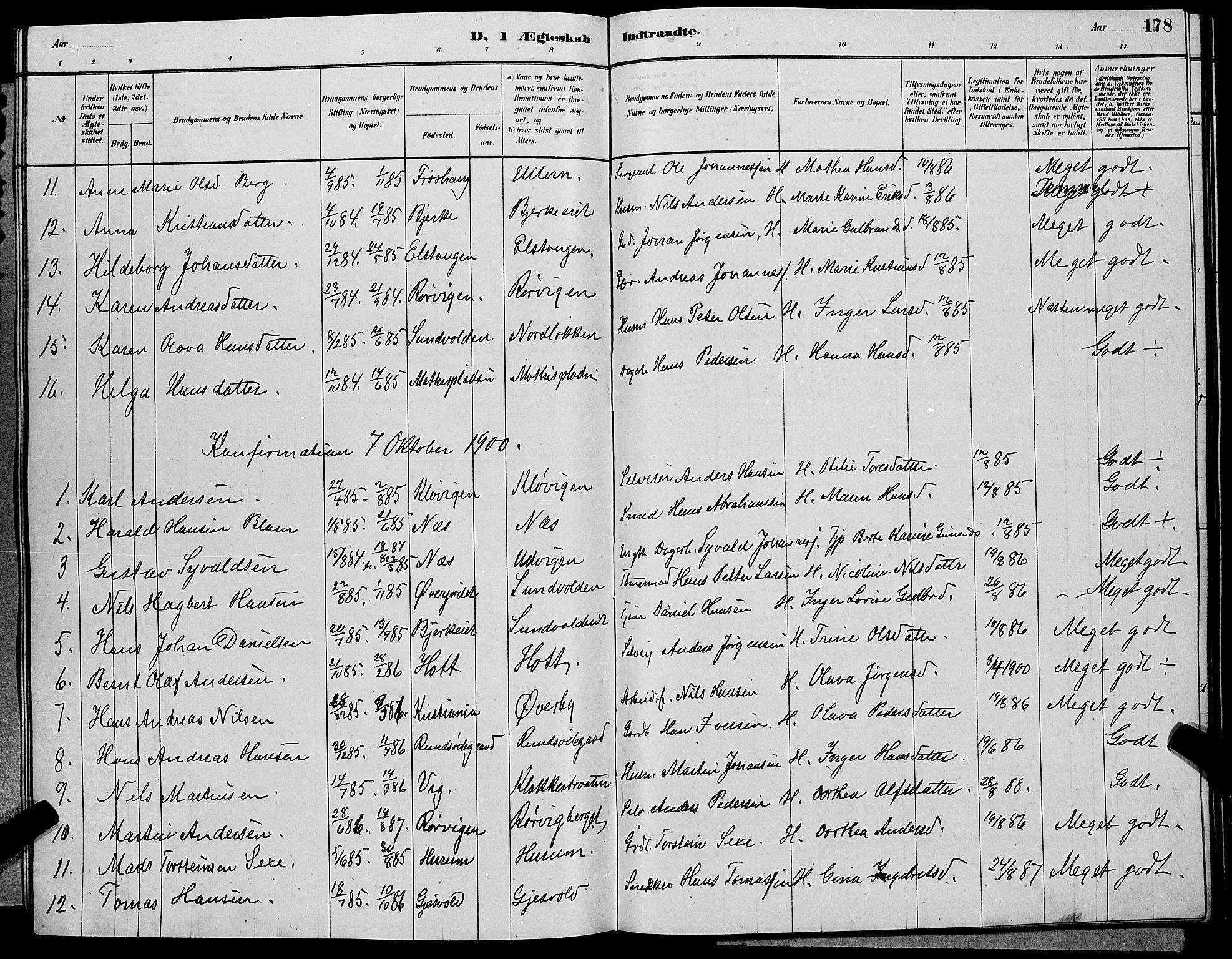 SAKO, Hole kirkebøker, G/Ga/L0003: Klokkerbok nr. I 3, 1879-1904, s. 178