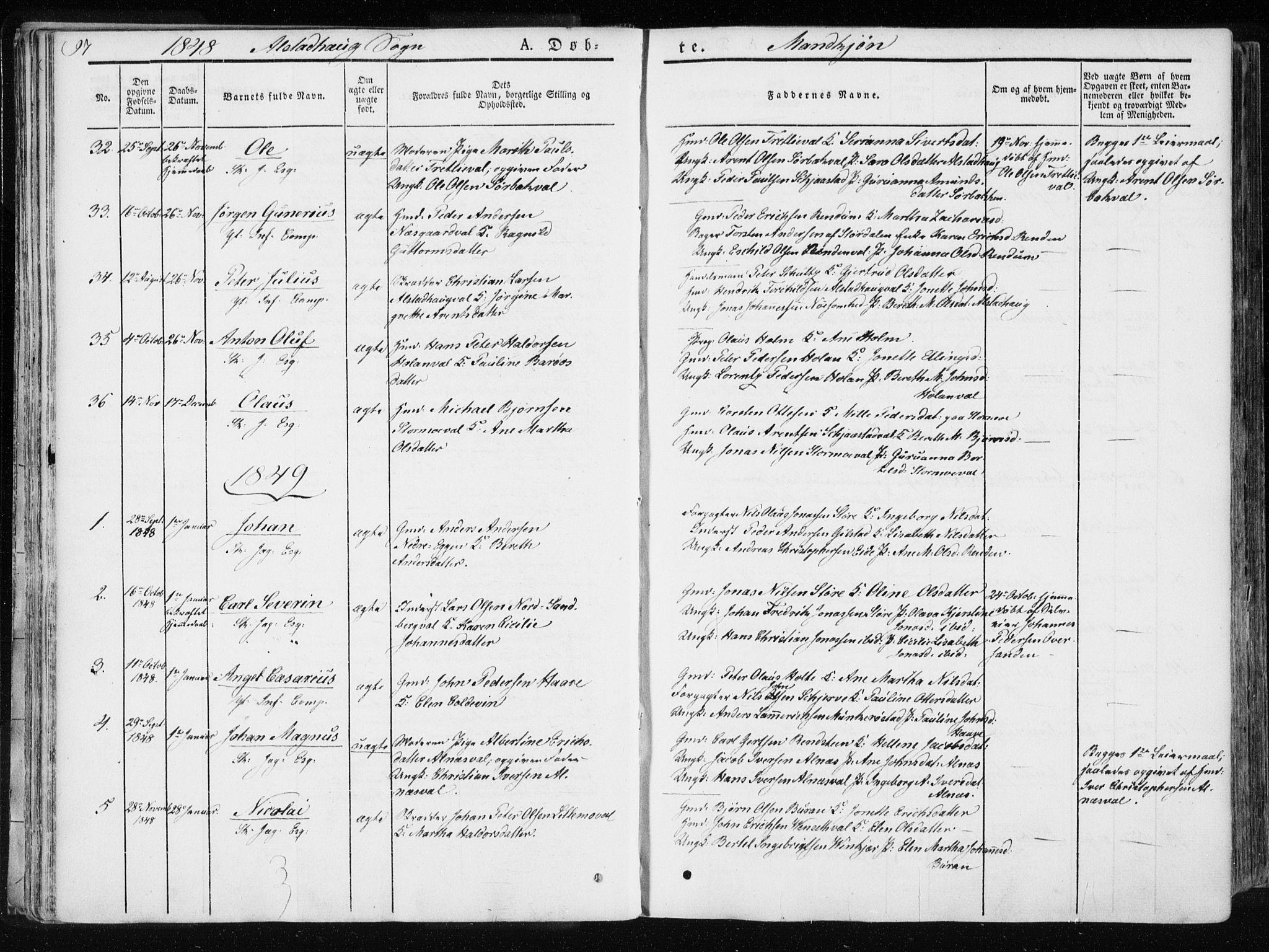 SAT, Ministerialprotokoller, klokkerbøker og fødselsregistre - Nord-Trøndelag, 717/L0154: Ministerialbok nr. 717A06 /1, 1836-1849, s. 97