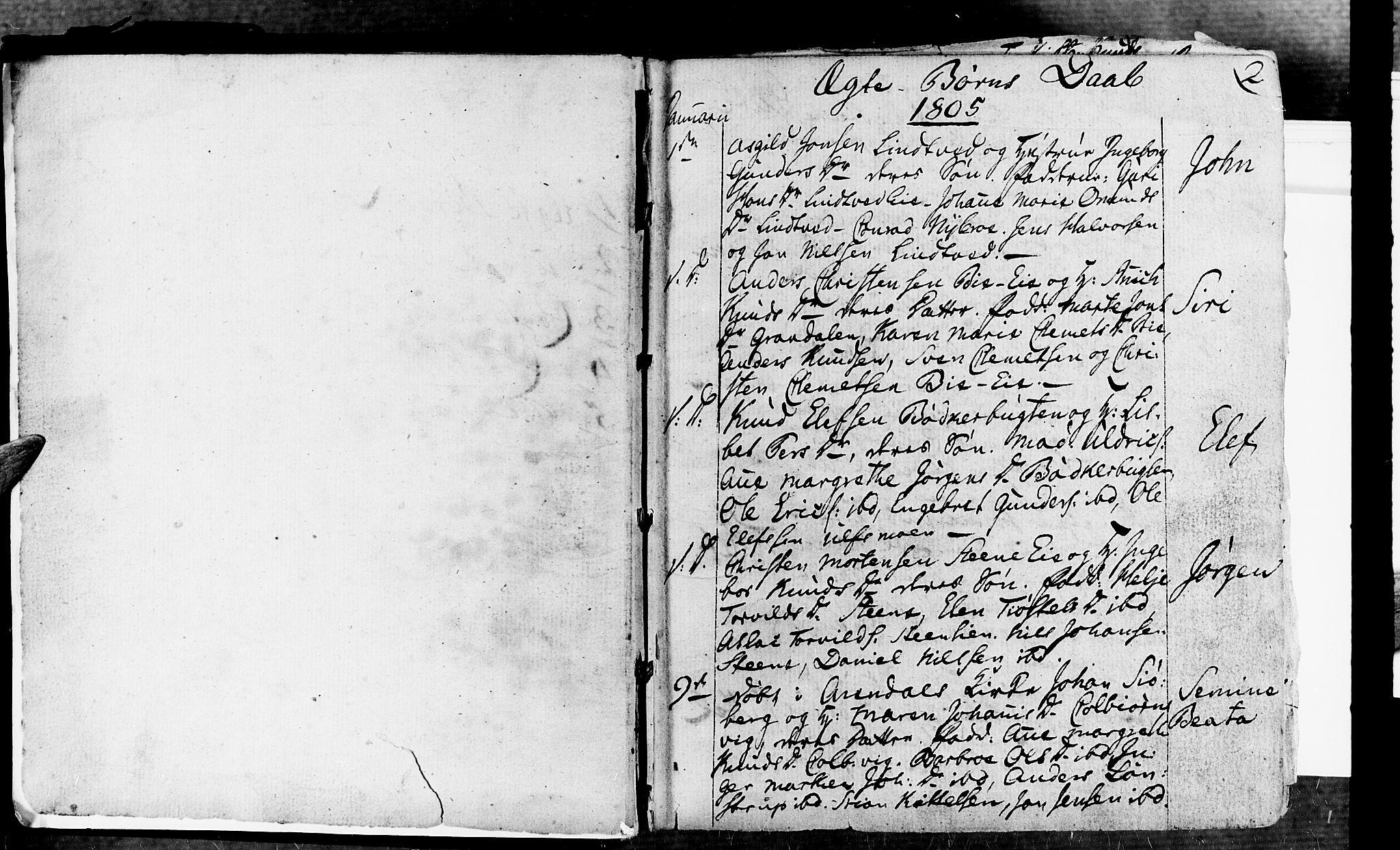 SAK, Øyestad sokneprestkontor, F/Fa/L0011: Ministerialbok nr. A 11, 1805-1824, s. 2