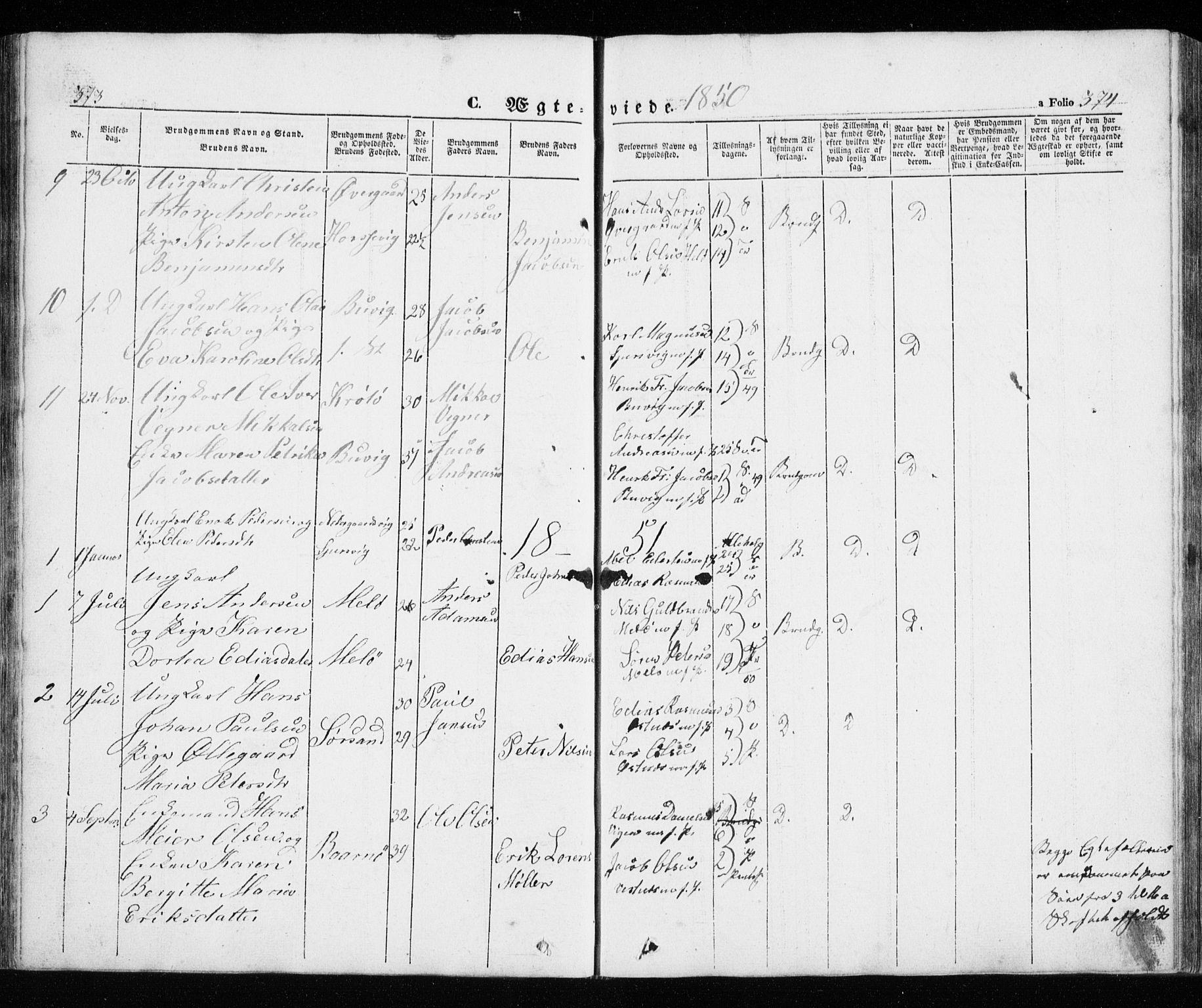 SATØ, Trondenes sokneprestkontor, H/Ha/L0010kirke: Ministerialbok nr. 10, 1840-1865, s. 373-374