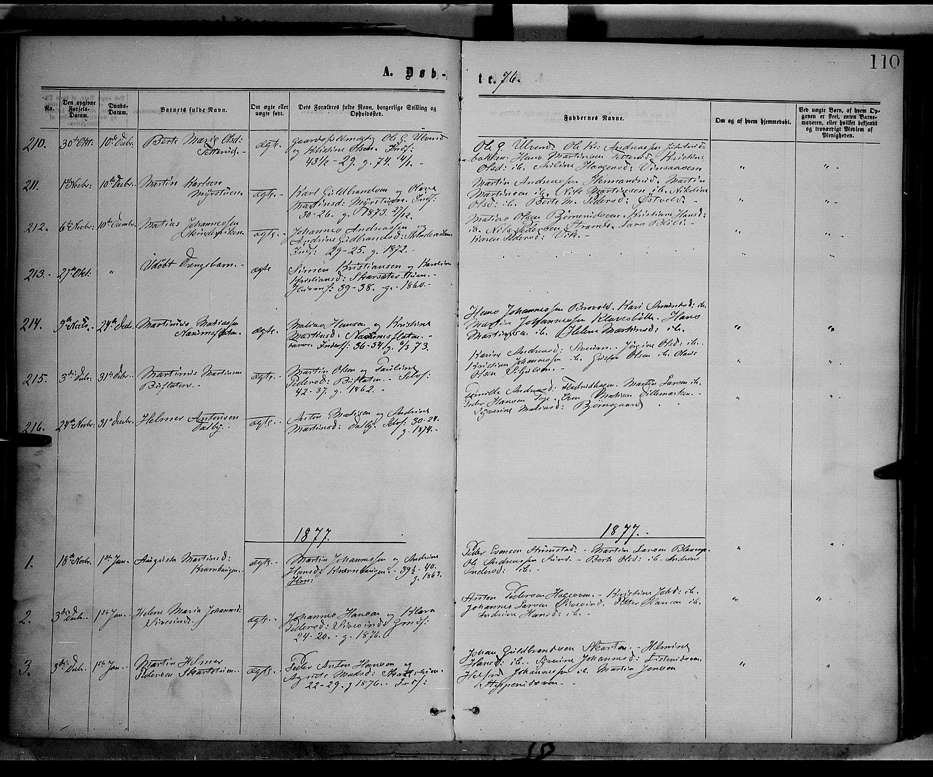 SAH, Vestre Toten prestekontor, Ministerialbok nr. 8, 1870-1877, s. 110