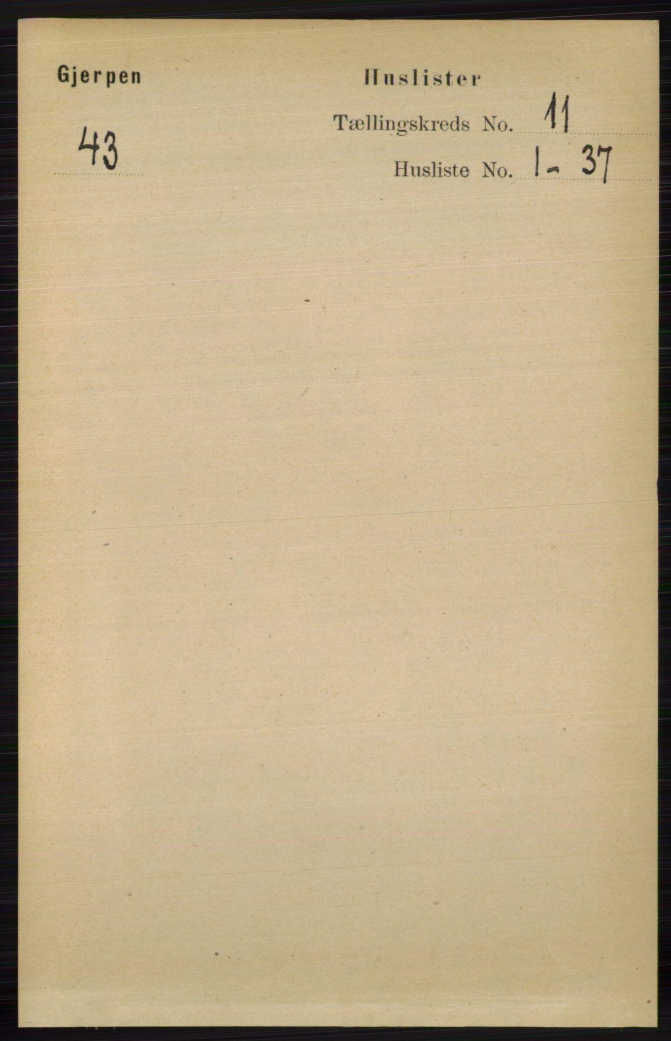 RA, Folketelling 1891 for 0812 Gjerpen herred, 1891, s. 6499