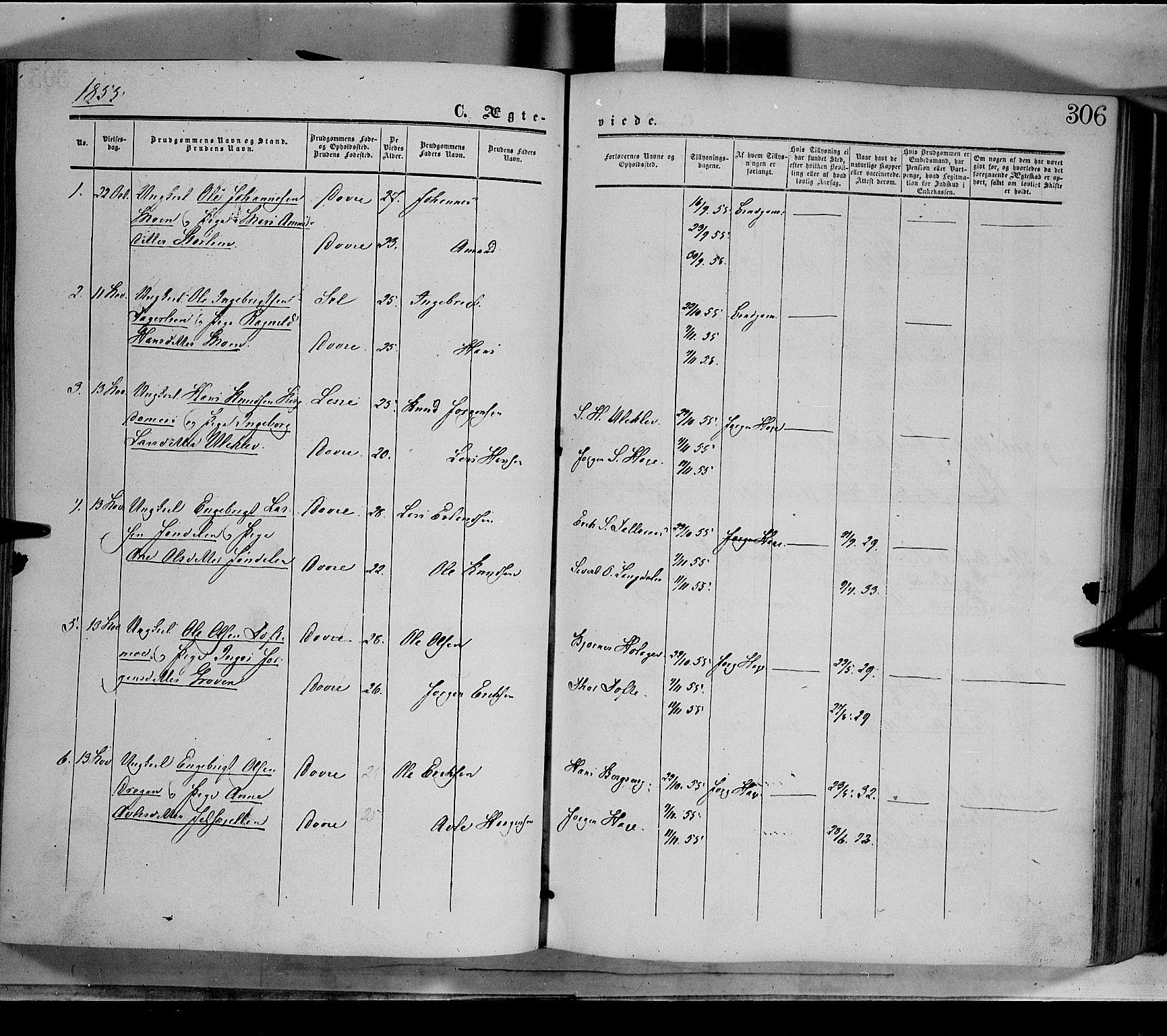 SAH, Dovre prestekontor, Ministerialbok nr. 1, 1854-1878, s. 306