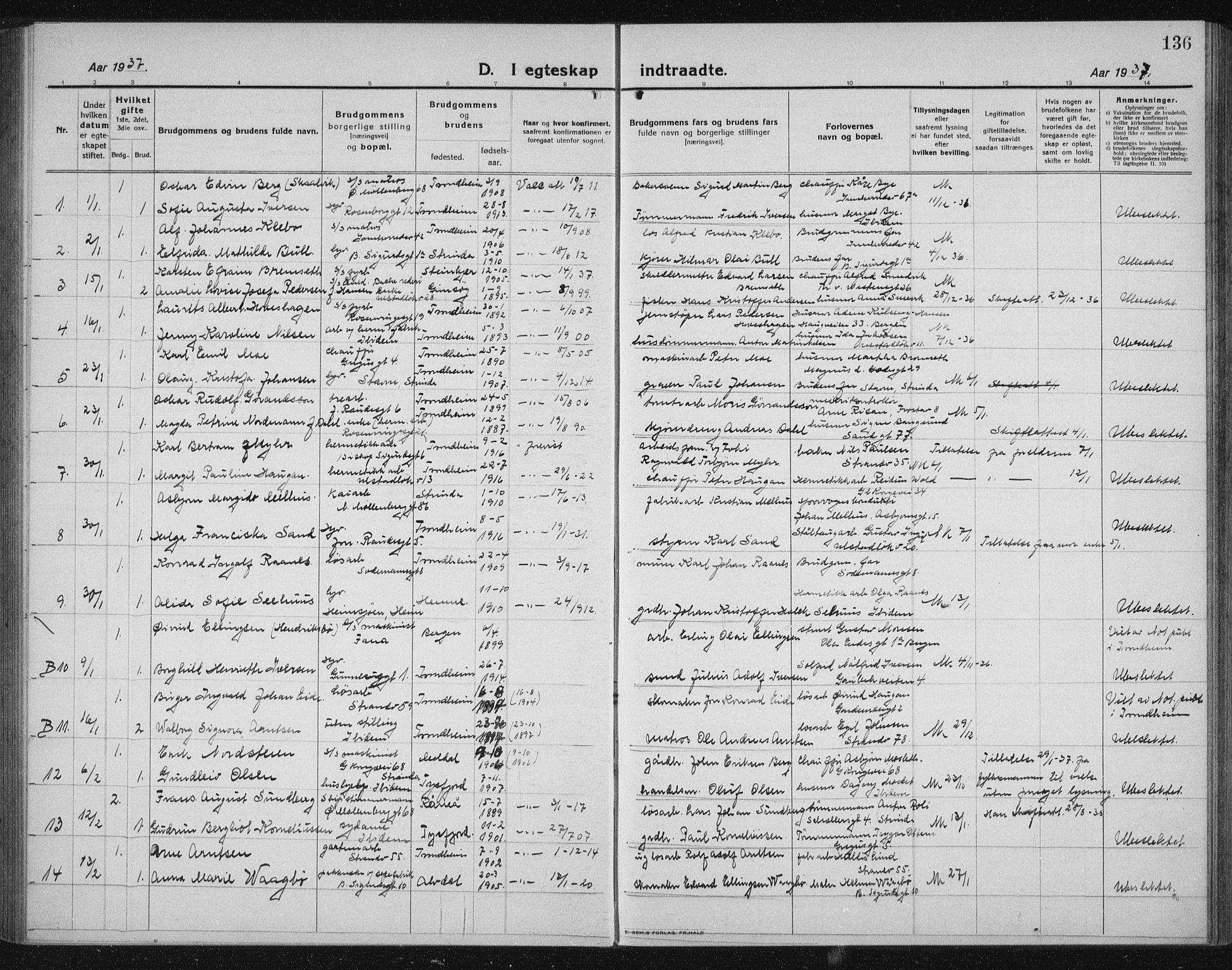 SAT, Ministerialprotokoller, klokkerbøker og fødselsregistre - Sør-Trøndelag, 605/L0260: Klokkerbok nr. 605C07, 1922-1942, s. 136