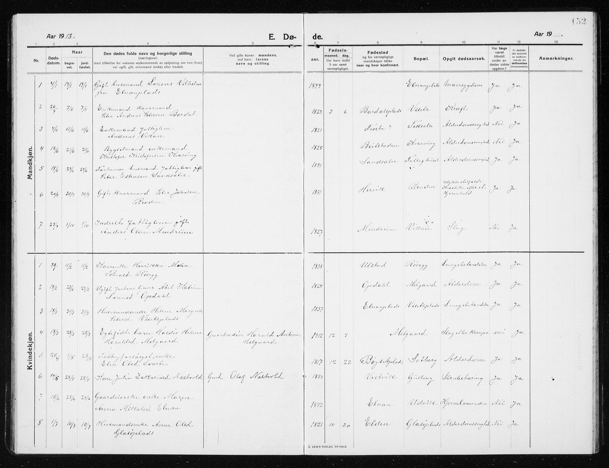 SAT, Ministerialprotokoller, klokkerbøker og fødselsregistre - Nord-Trøndelag, 741/L0402: Klokkerbok nr. 741C03, 1911-1926, s. 152