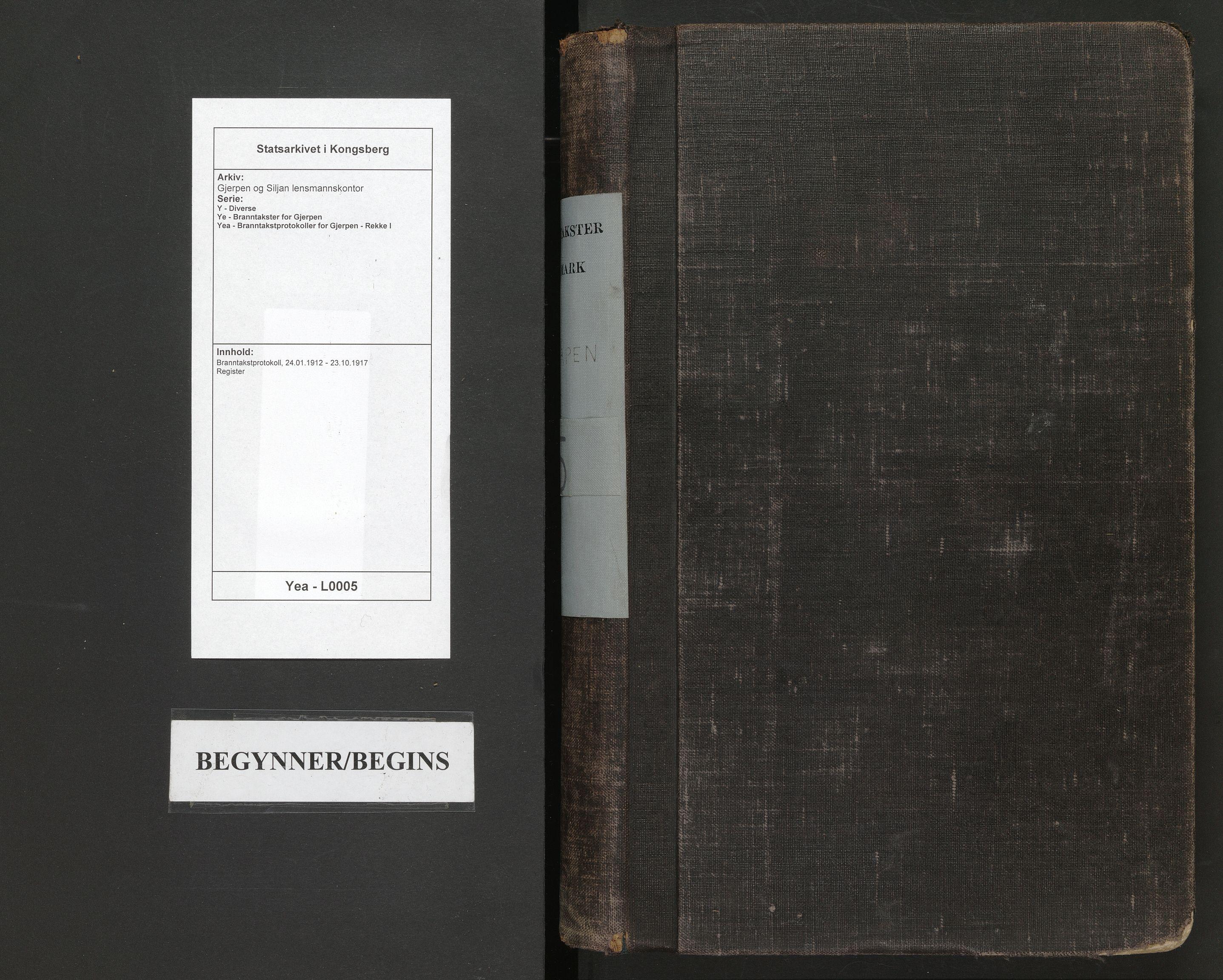 SAKO, Gjerpen og Siljan lensmannskontor, Y/Ye/Yea/L0005: Branntakstprotokoll, 1912-1917