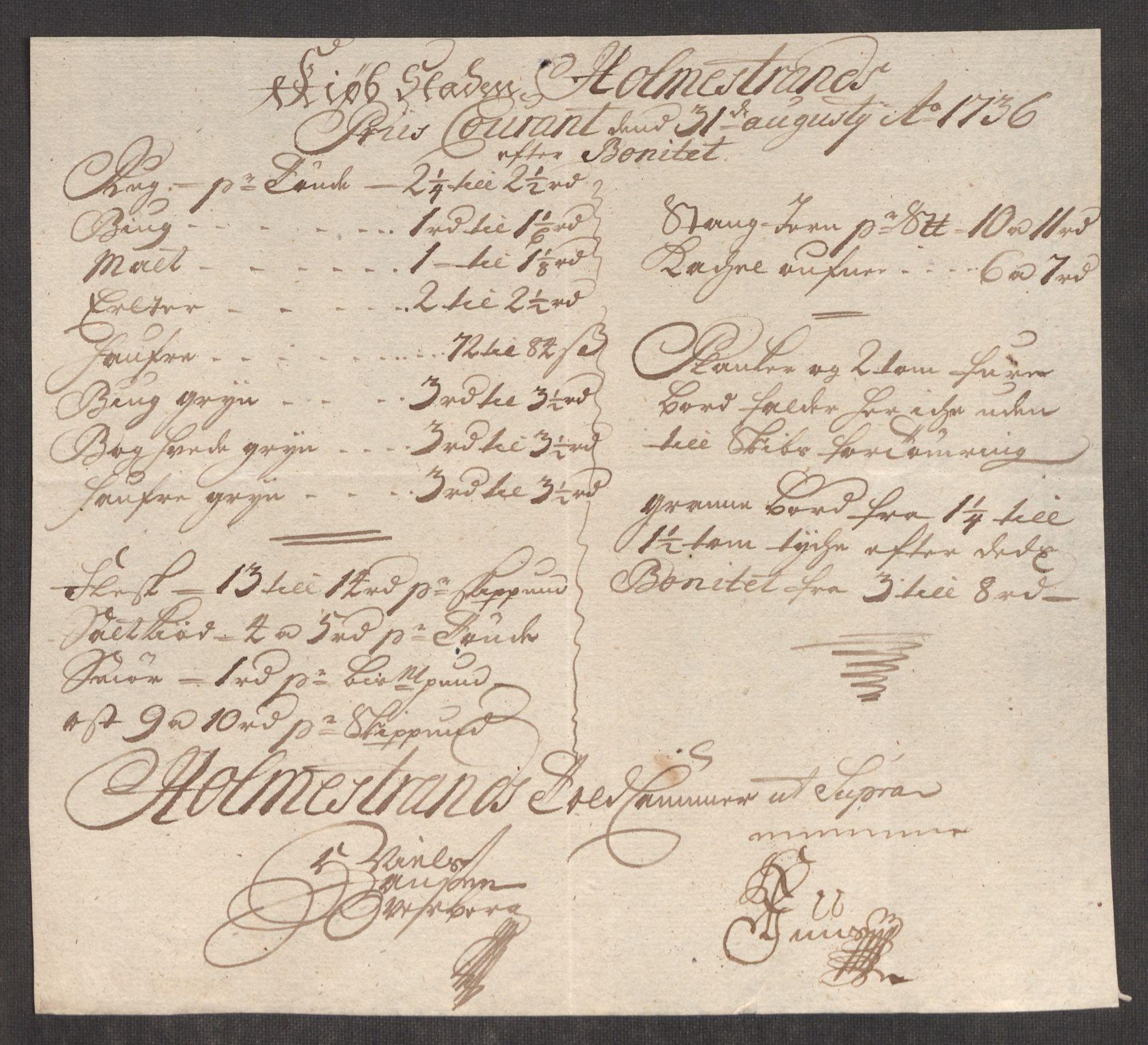 RA, Rentekammeret inntil 1814, Realistisk ordnet avdeling, Oe/L0001: [Ø1]: Priskuranter, 1712-1739, s. 360