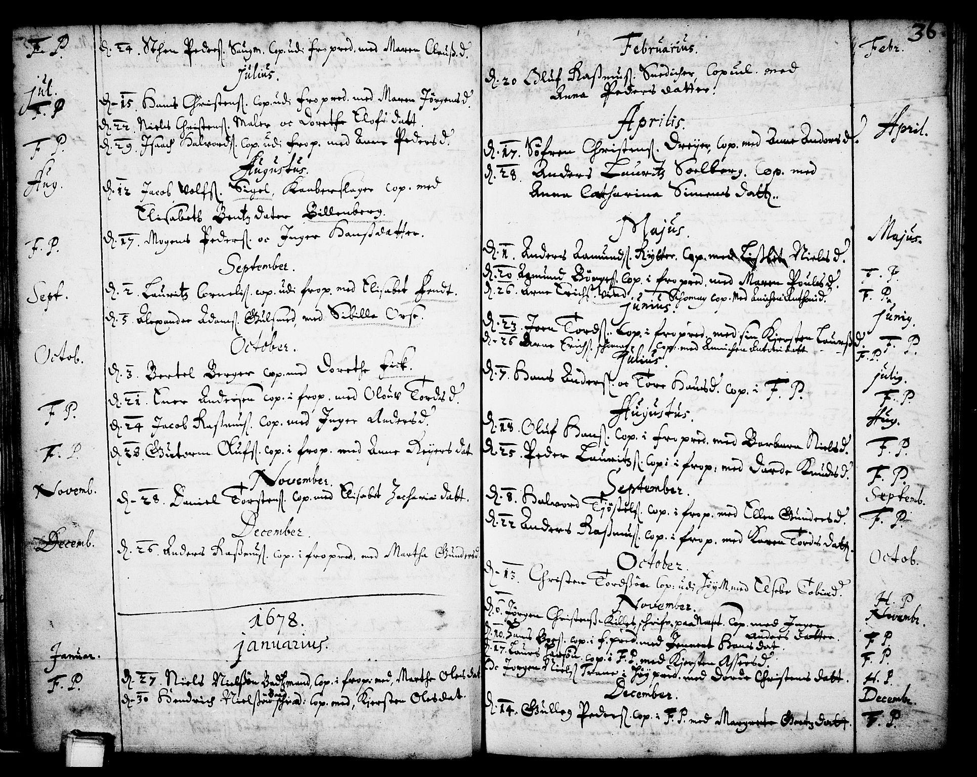 SAKO, Skien kirkebøker, F/Fa/L0001: Ministerialbok nr. 1, 1659-1679, s. 36