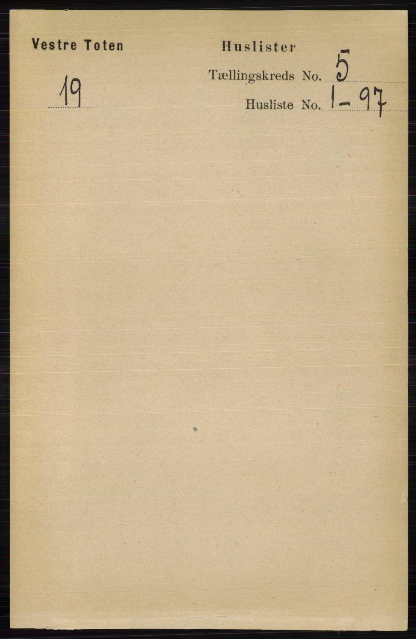 RA, Folketelling 1891 for 0529 Vestre Toten herred, 1891, s. 3130