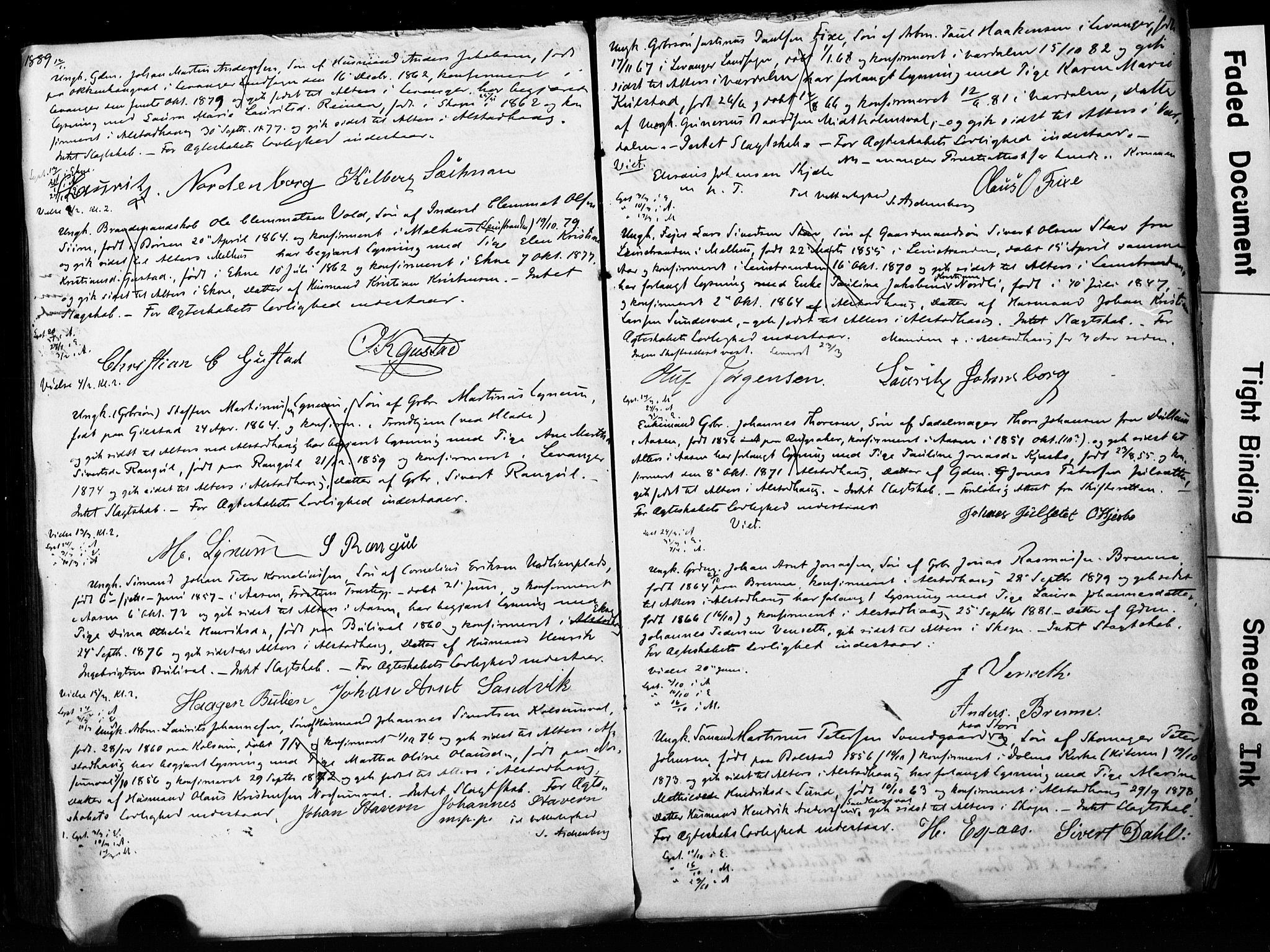 SAT, Ministerialprotokoller, klokkerbøker og fødselsregistre - Nord-Trøndelag, 717/L0161: Forlovererklæringer nr. 717A11, 1850-1895