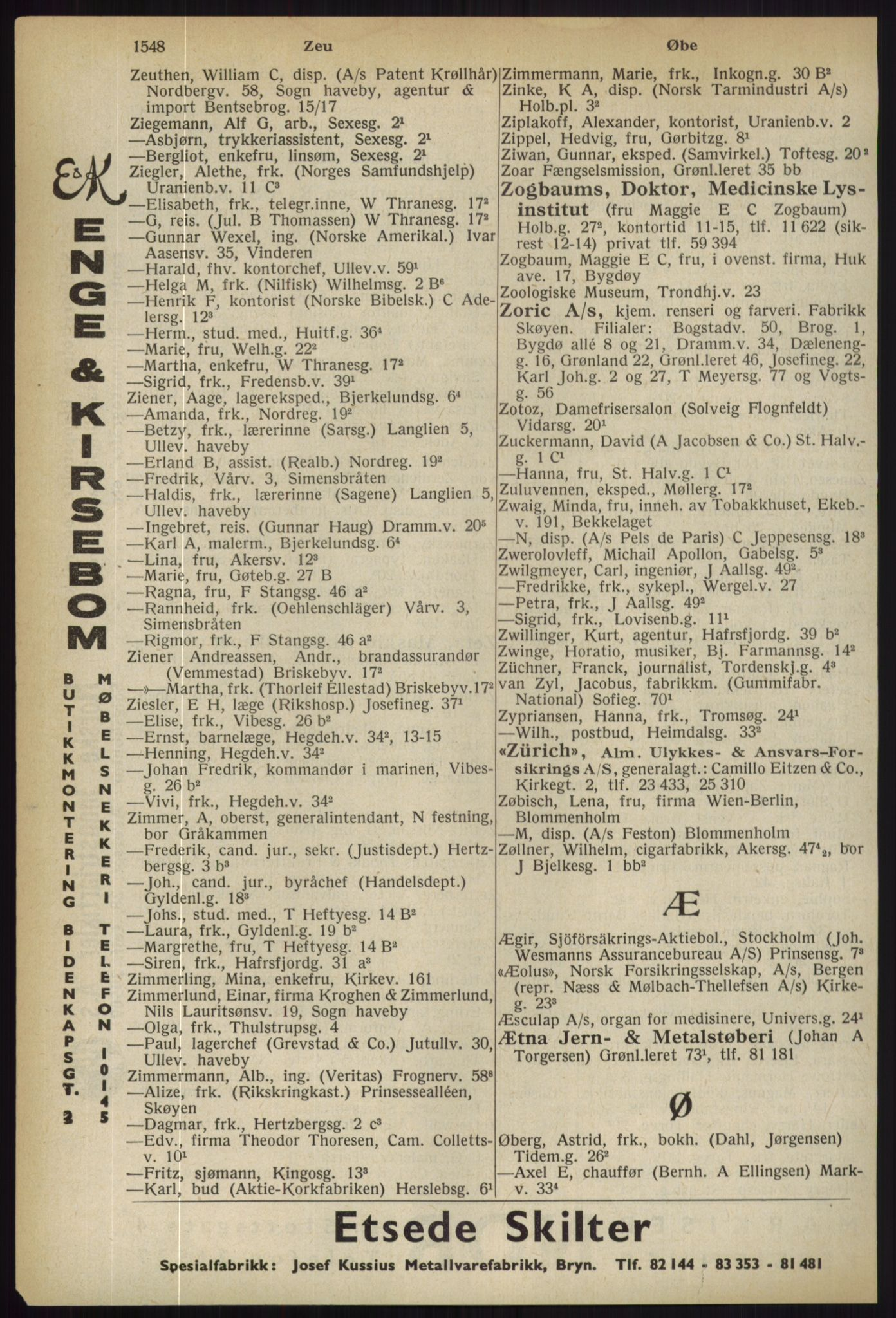 RA, Oslo adressebok (publikasjon)*, 1936, s. 1548